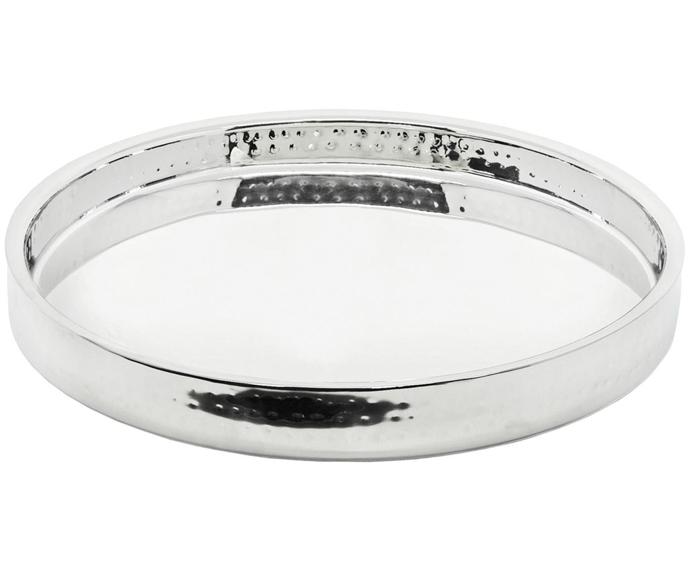Rundes Spiegeltablett Alaska in Silber, Edelstahl, gehämmert Pflegehinweise  Von Hand spülen, Edelstahl, Ø 32 cm