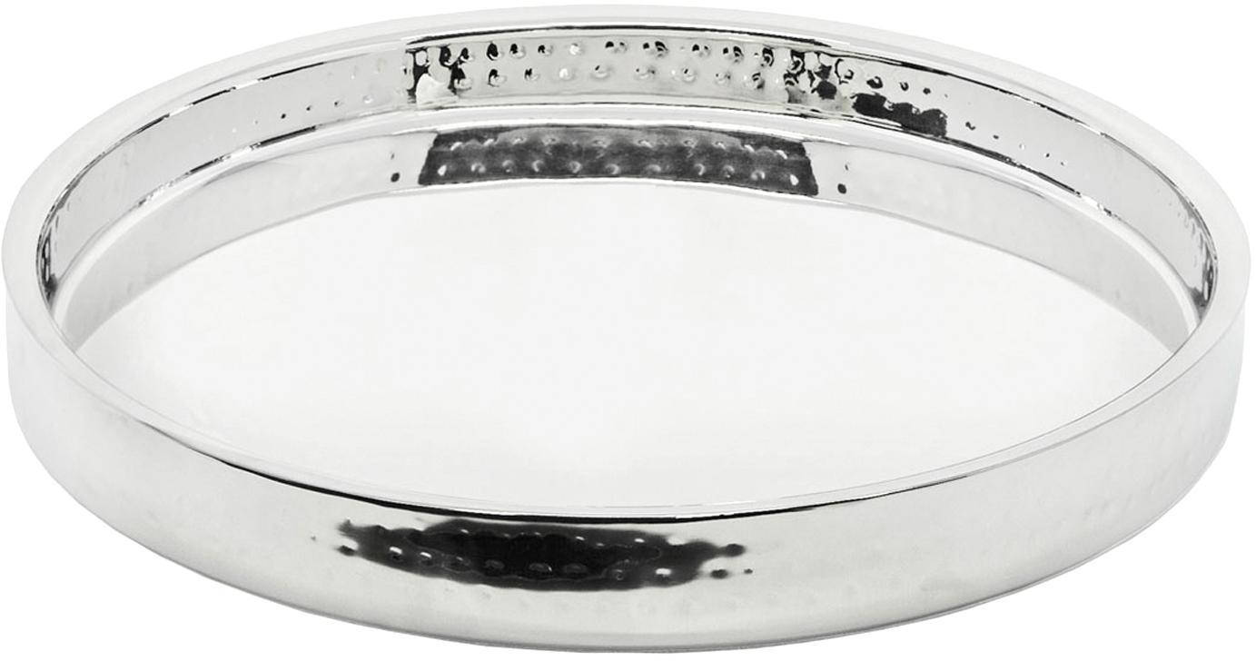 Rond gespiegeld dienblad Alaska in zilverkleur, Gehamerd edelstaal, Edelstaalkleurig, Ø 32 cm
