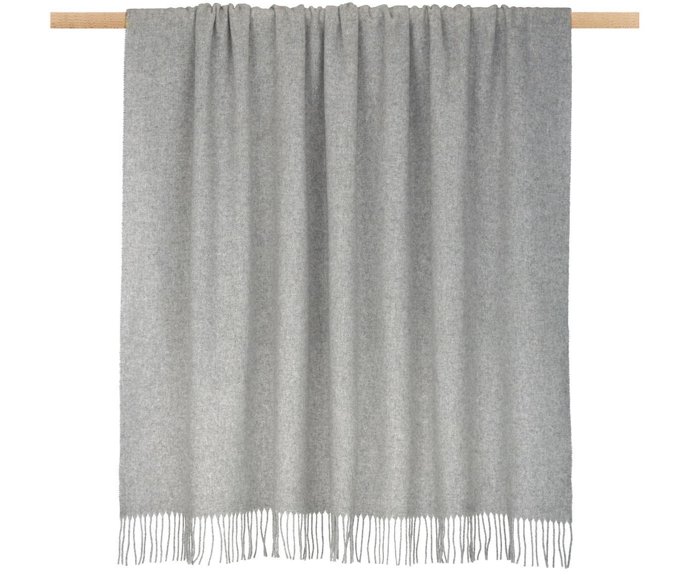 Plaid in lana leggero con finitura a frange Patriciu, 100% lana, Grigio chiaro, Larg. 130 x Lung. 170 cm