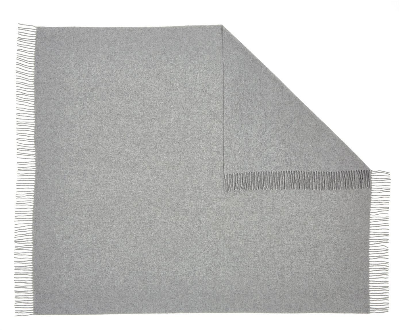 Leichtes Wollplaid Patriciu mit Fransenabschluss, 100% Wolle, Hellgrau, 130 x 170 cm