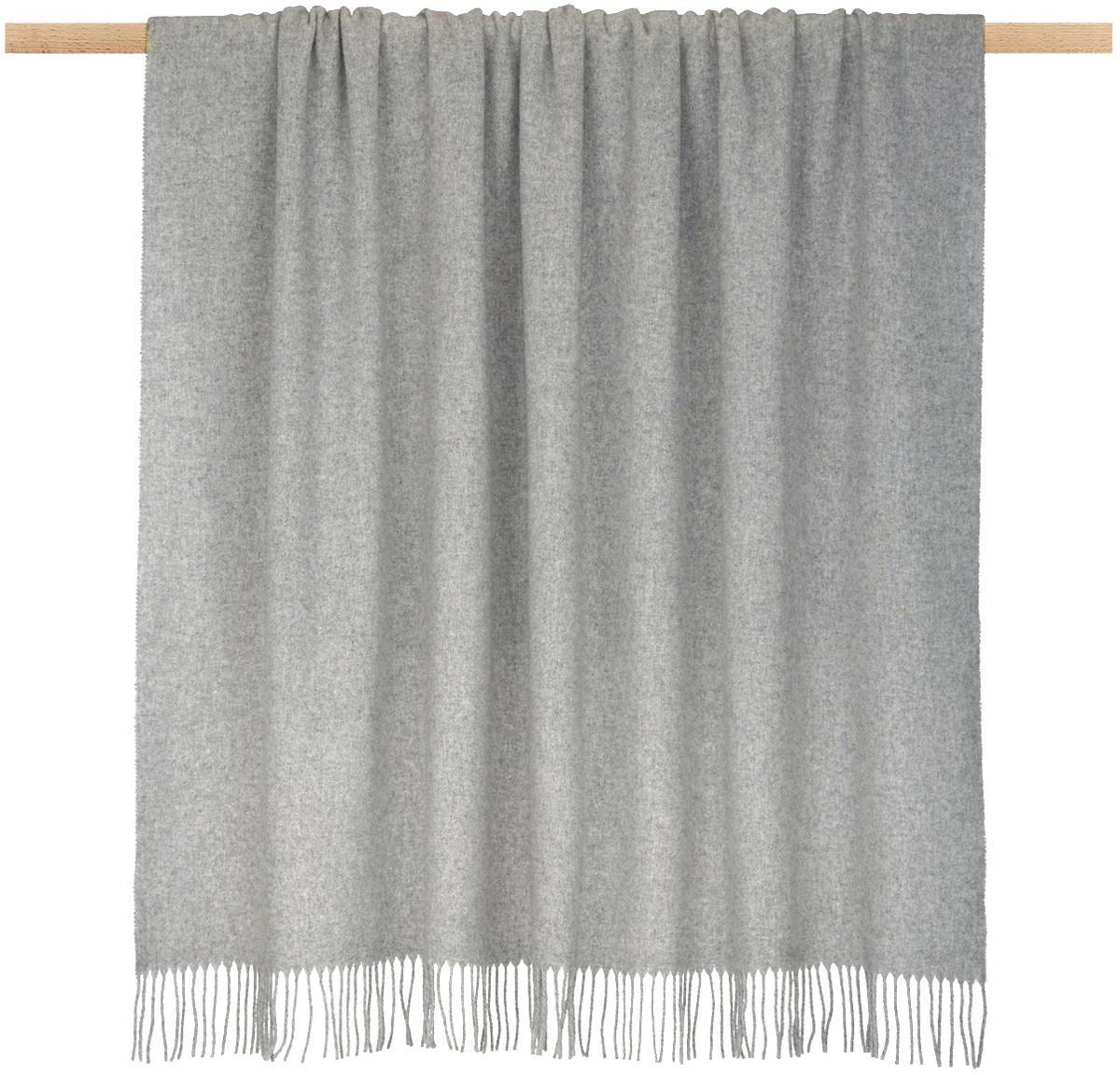 Manta de lana ligera con flecos Patriciu, 100%lana, Gris claro, Cama 90 cm (150 x 220 cm)