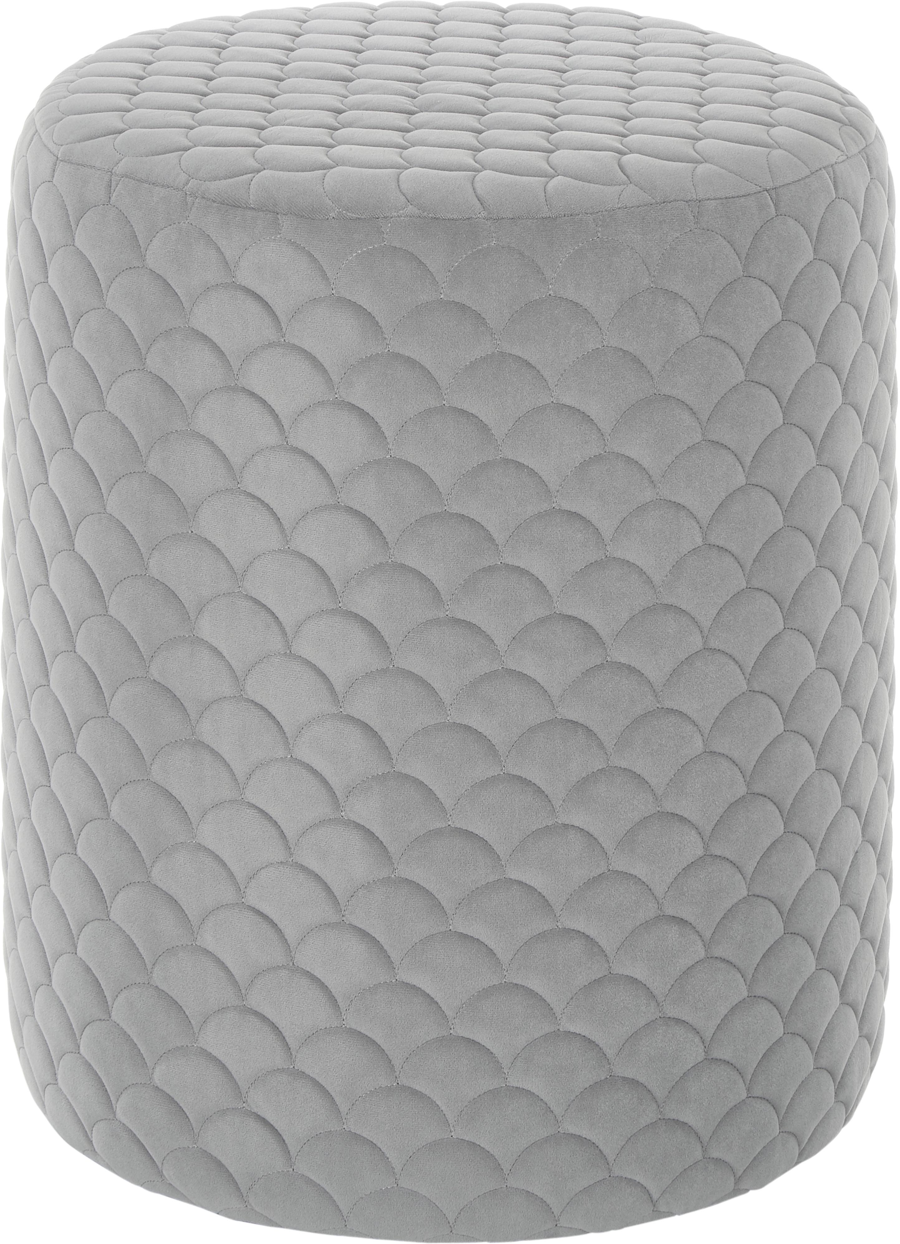 Samt-Hocker Daisy, Bezug: Samt (Polyester) 84.000 S, Rahmen: Sperrholz, Samt Grau, Ø 38 x H 45 cm
