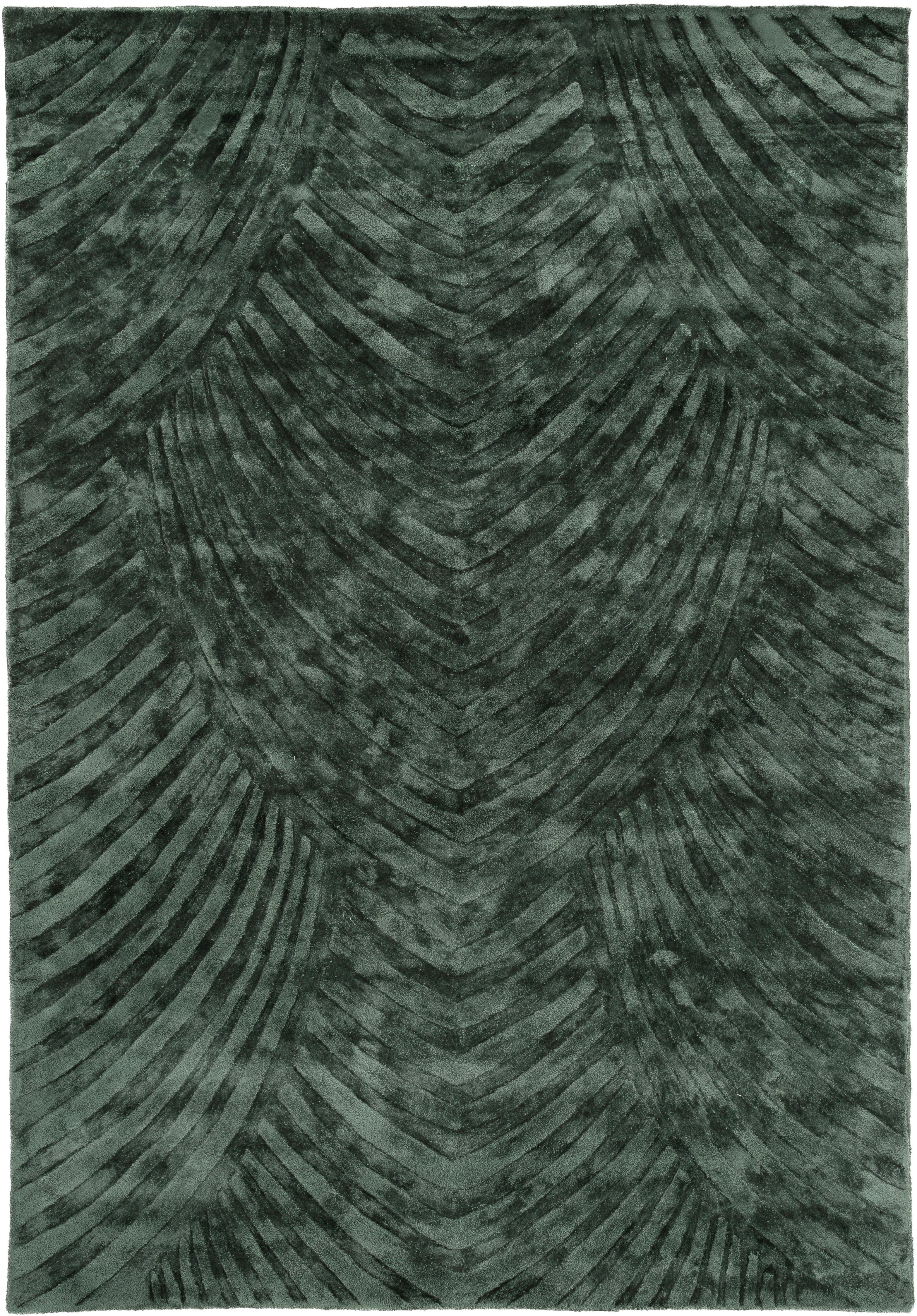 Handgetuft viscose vloerkleed Bloom, Bovenzijde: 100% viscose, Onderzijde: 100% katoen, Donkergroen, 120 x 180 cm