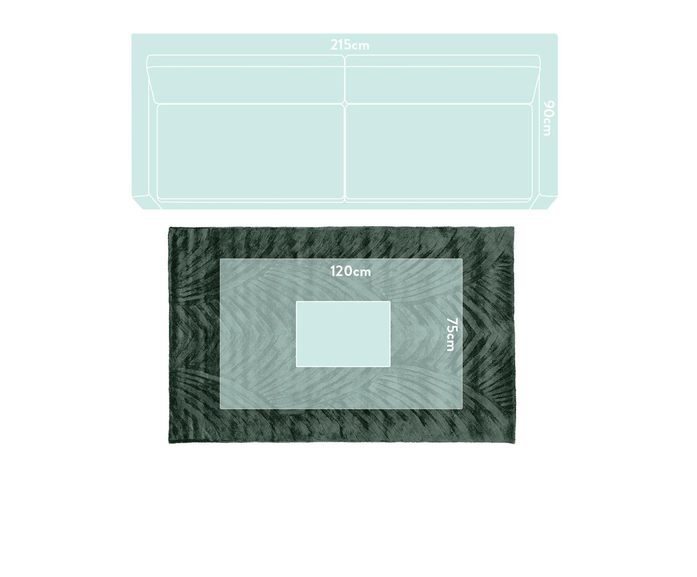Tappeto in viscosa taftato a mano Bloom, Vello: 100% viscosa, Retro: 100% cotone, Verde scuro, Larg. 120 x Lung. 180 cm (taglia S)