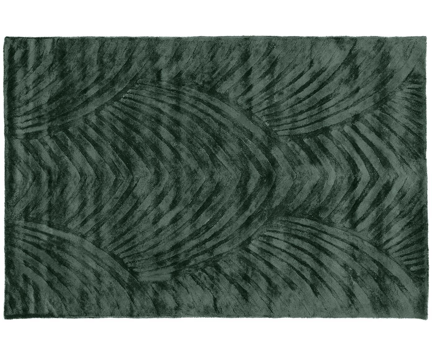 Alfombra artesanal de viscosa Bloom, Parte superior: 100%viscosa, Reverso: 100%algodón, Verde oscuro, An 120 x L 180 cm (Tamaño S)