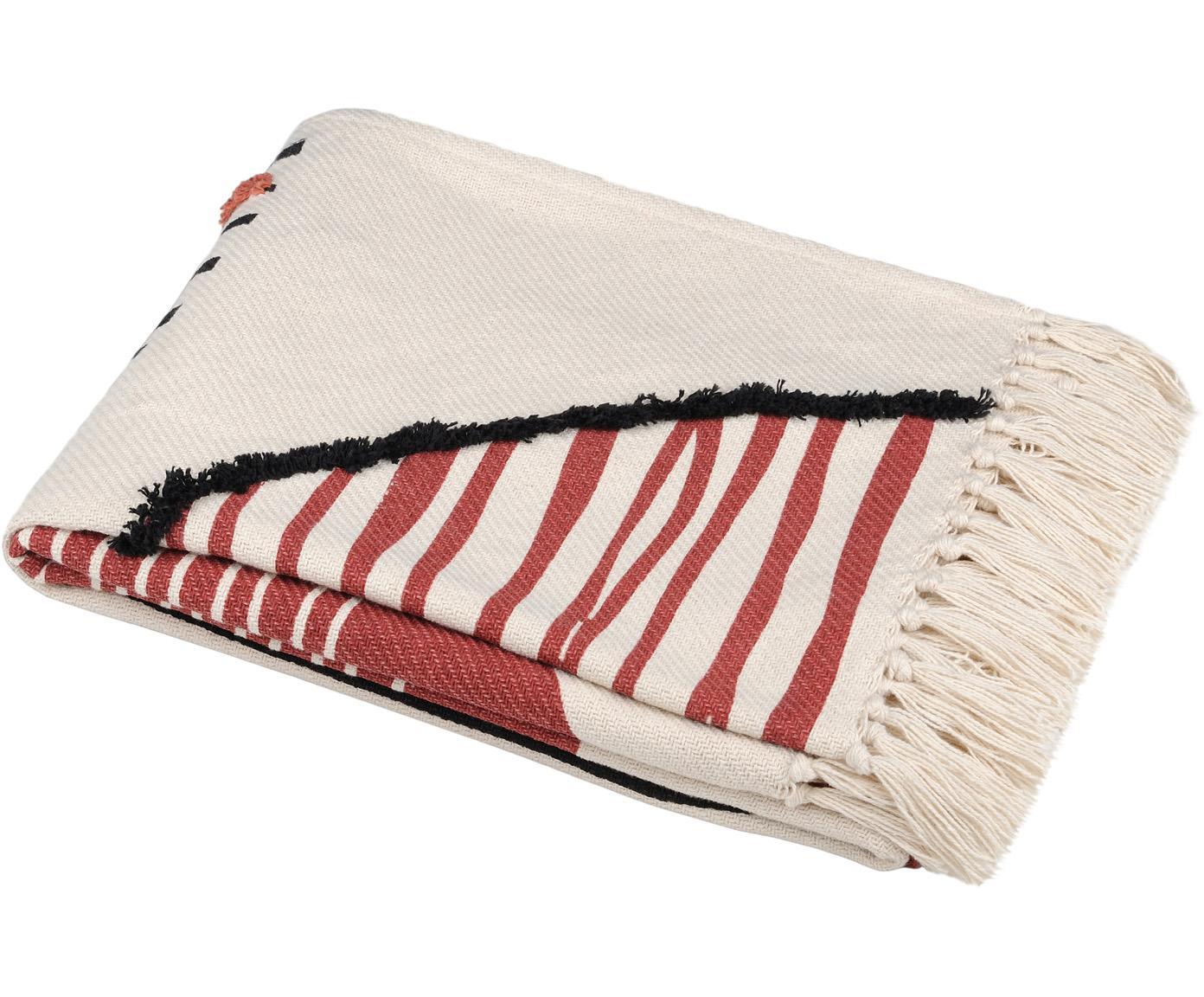 Plaid Dakar mit Fransenabschluss und Hoch-Tief-Struktur, 96% Baumwolle, 4% Elastan, Weiß, Rot, Schwarz, 125 x 150 cm