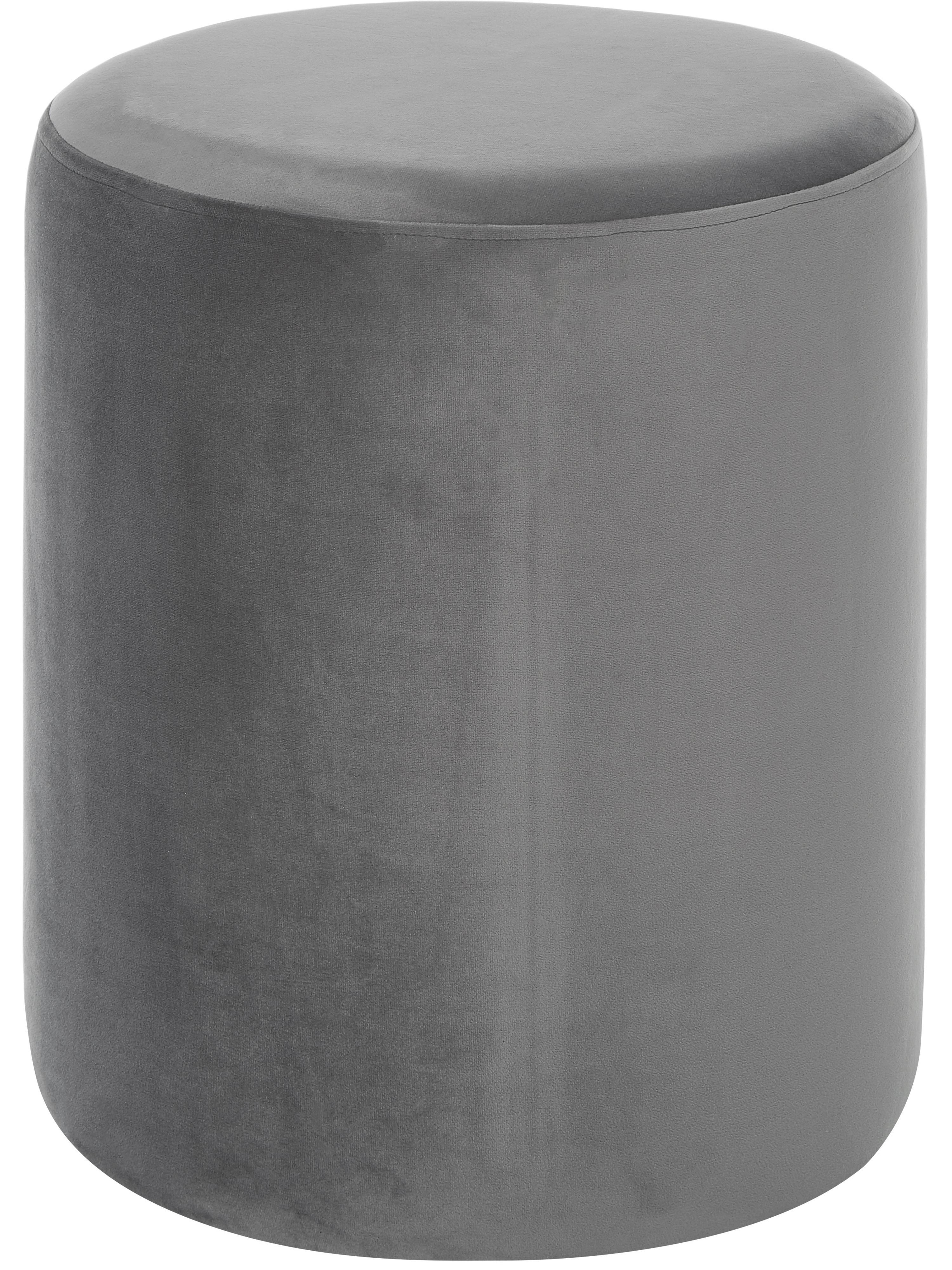 Puf z aksamitu Daisy, Tapicerka: aksamit (poliester), Tapicerka: pianka, 28 kg/m³, Aksamitny szary, Ø 38 x W 46 cm