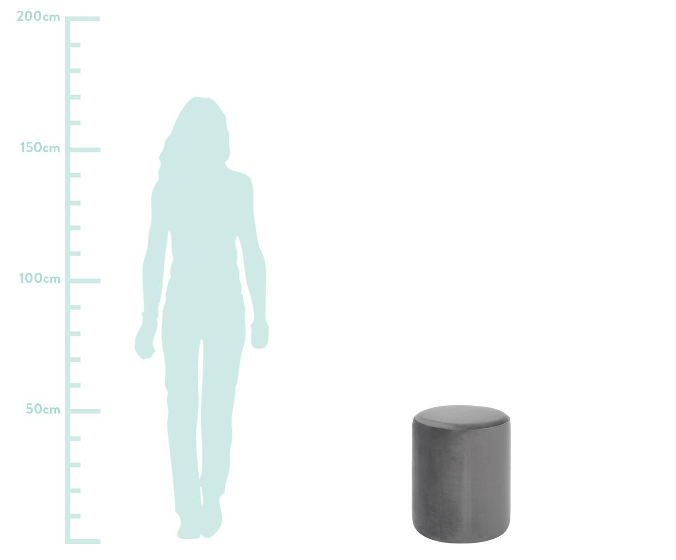 Samt-Hocker Daisy, Bezug: Samt (Polyester) Der hoch, Rahmen: Sperrholz, Samt Grau, Ø 38 x H 45 cm