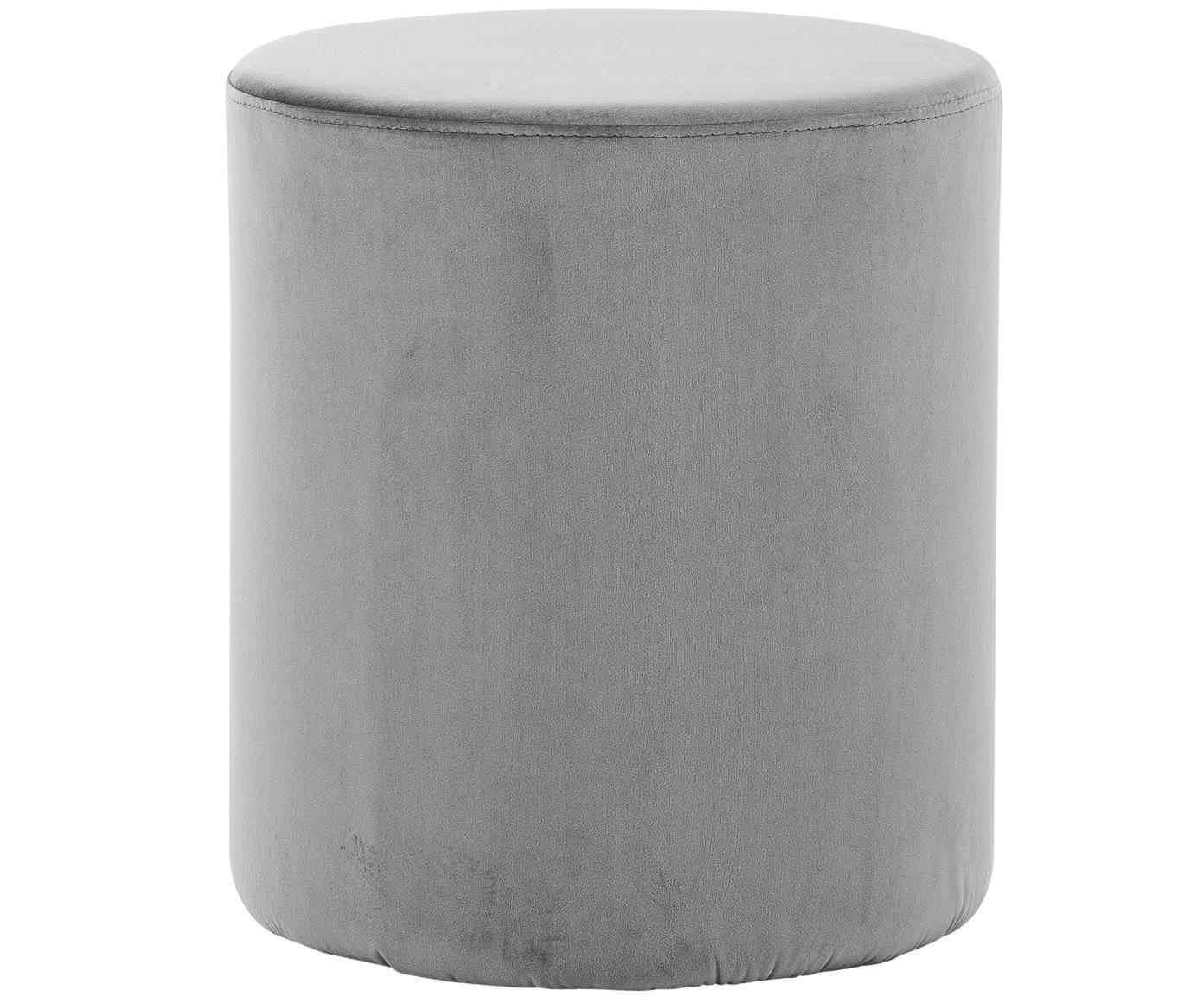 Pouf in velluto Daisy, Rivestimento: velluto (poliestere) 15.0, Struttura: pannello di fibra a media, Grigio, Ø 38 x Alt. 46 cm