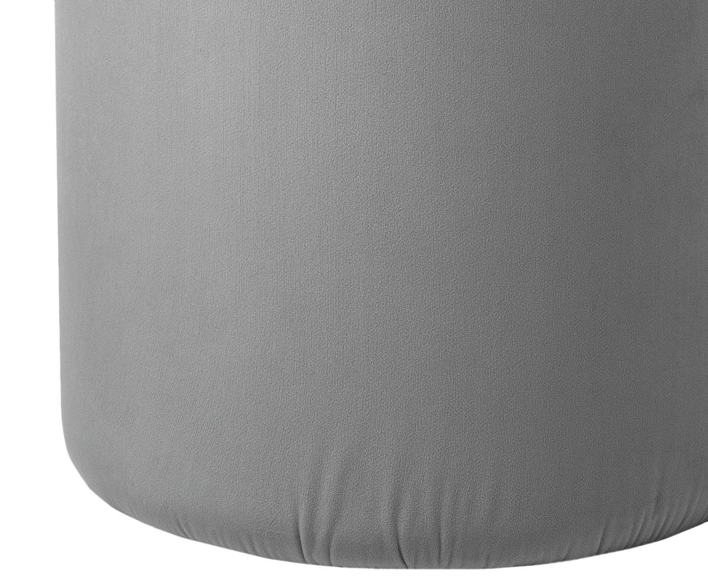 Fluwelen poef Daisy, Bekleding: fluweel (polyester), Frame: MDF, Grijs, Ø 38 cm