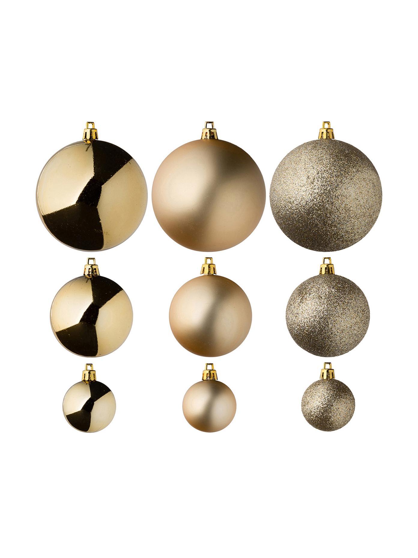 Kerstballenset Silvia, 46-delig, Kunststof, Goudkleurig, Verschillende formaten