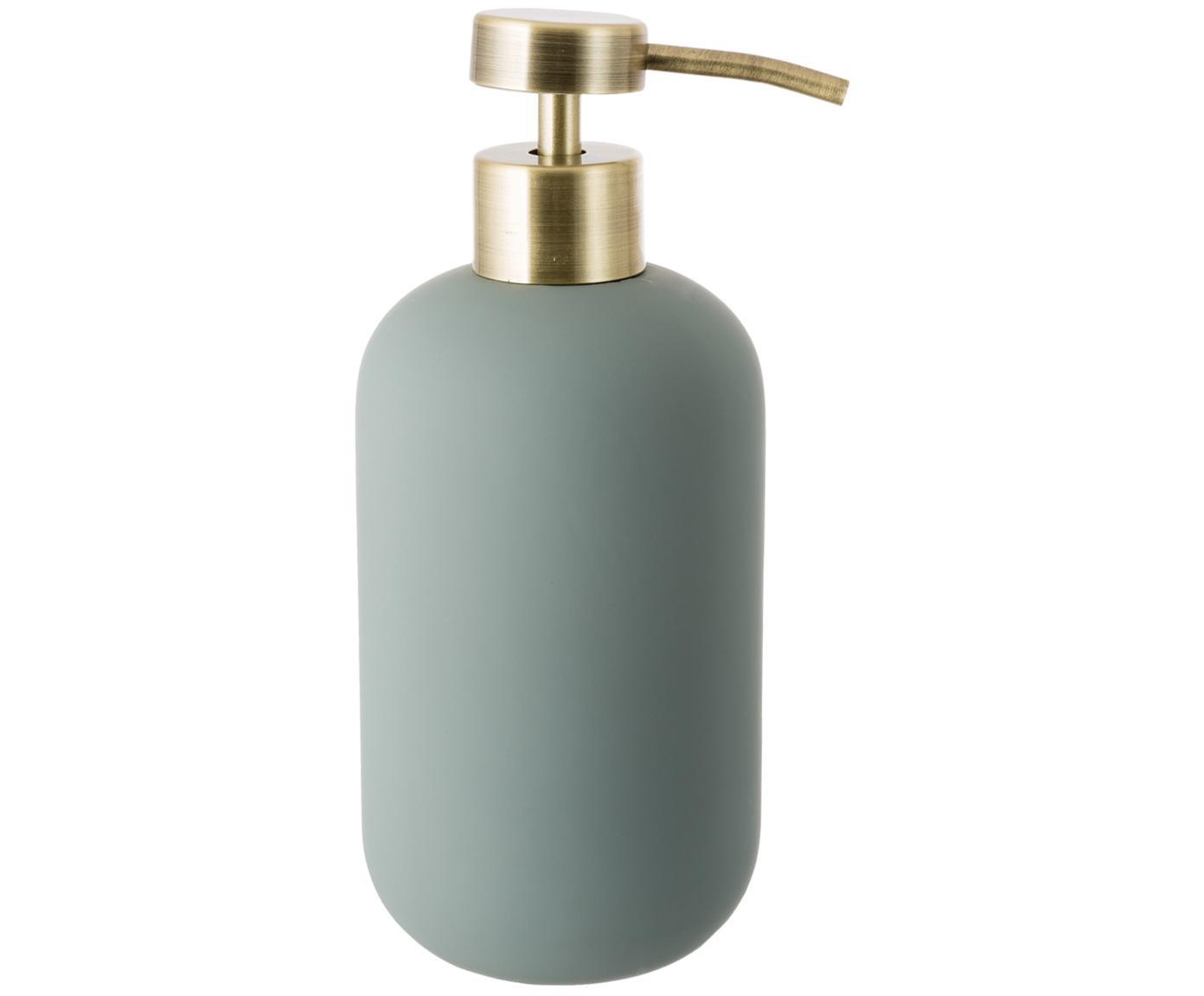 Dosificador de jabón Lotus, Recipiente: cerámica, Dosificador: metal, Verde, latón, Ø 8 x Al 18 cm