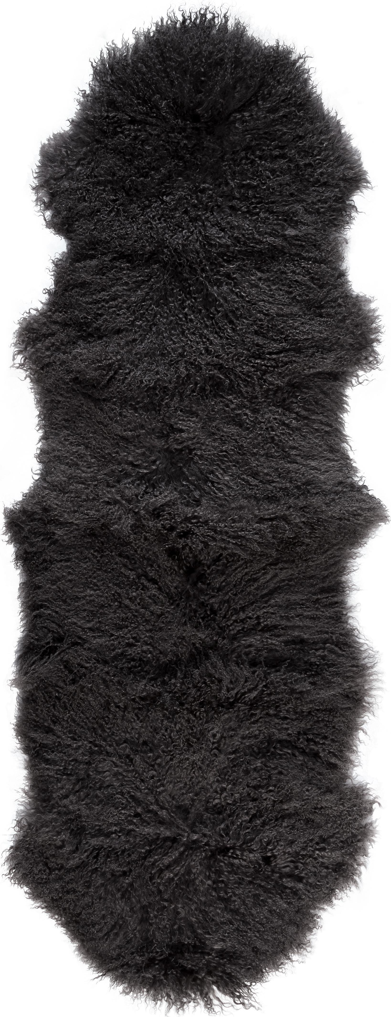 Tappeto in pelliccia d'agnello a pelo lungo Ella, Retro: pelle, Grigio, Larg. 50 x Lung. 160 cm