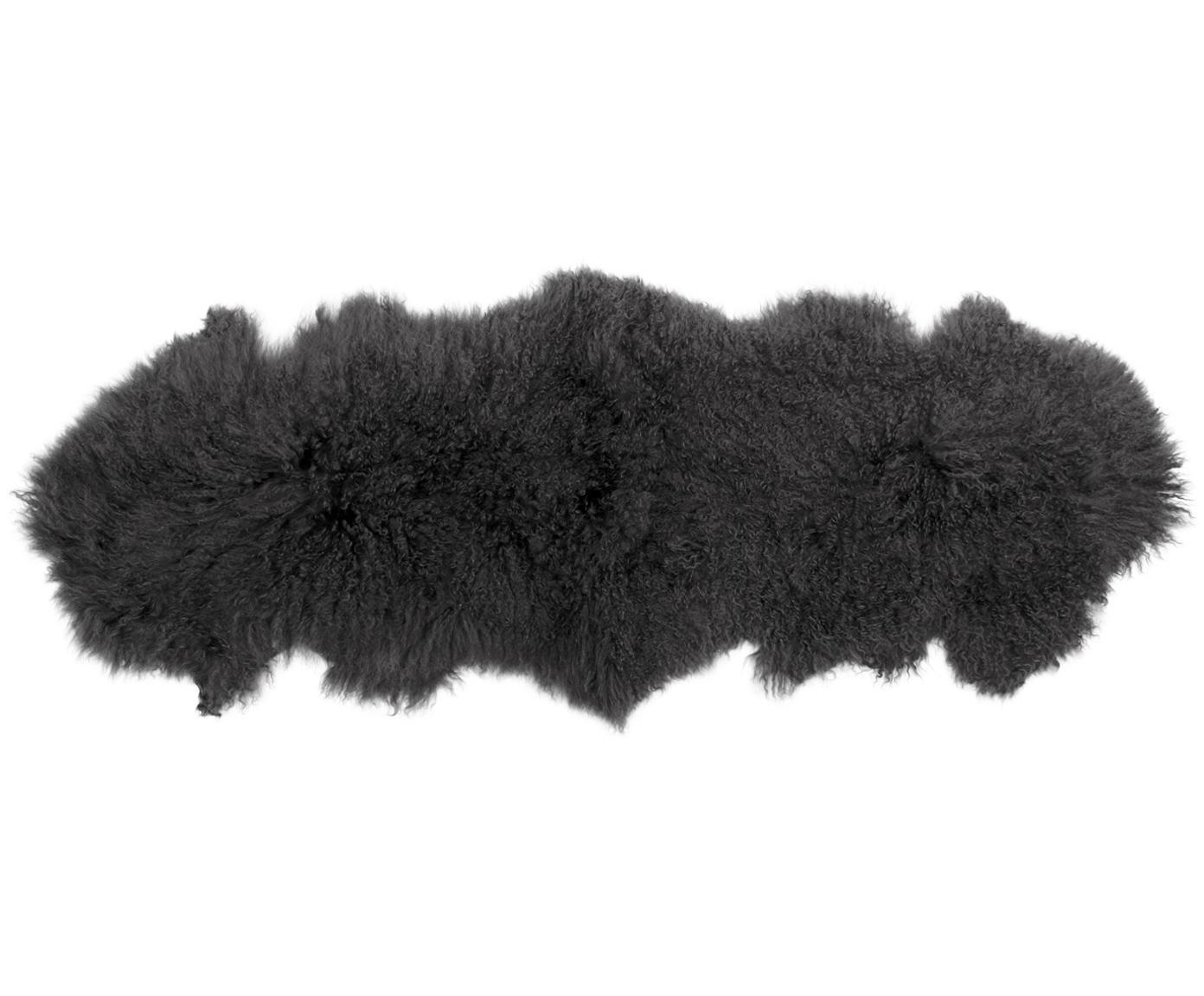 Langharige schapenvacht Ella, gekruld, Bovenzijde: Mongoolse schapenvacht, Onderzijde: leer, Donkergrijs, 50 x 160 cm