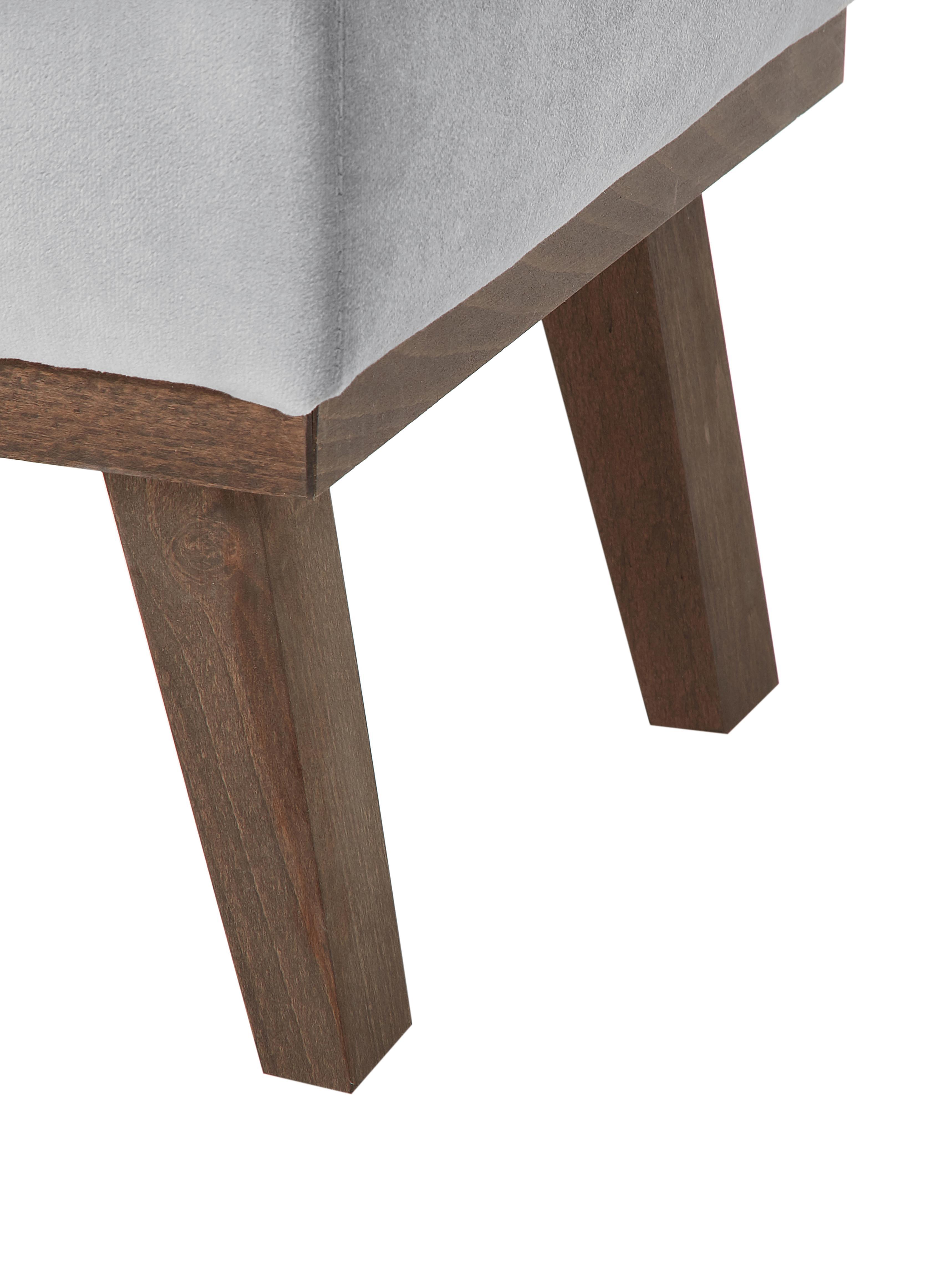 Sofa-Hocker Alva aus Samt, Bezug: Samt (Hochwertiger Polyes, Gestell: Massives Kiefernholz, Füße: Massives Buchenholz, gebe, Grau, 74 x 30 cm