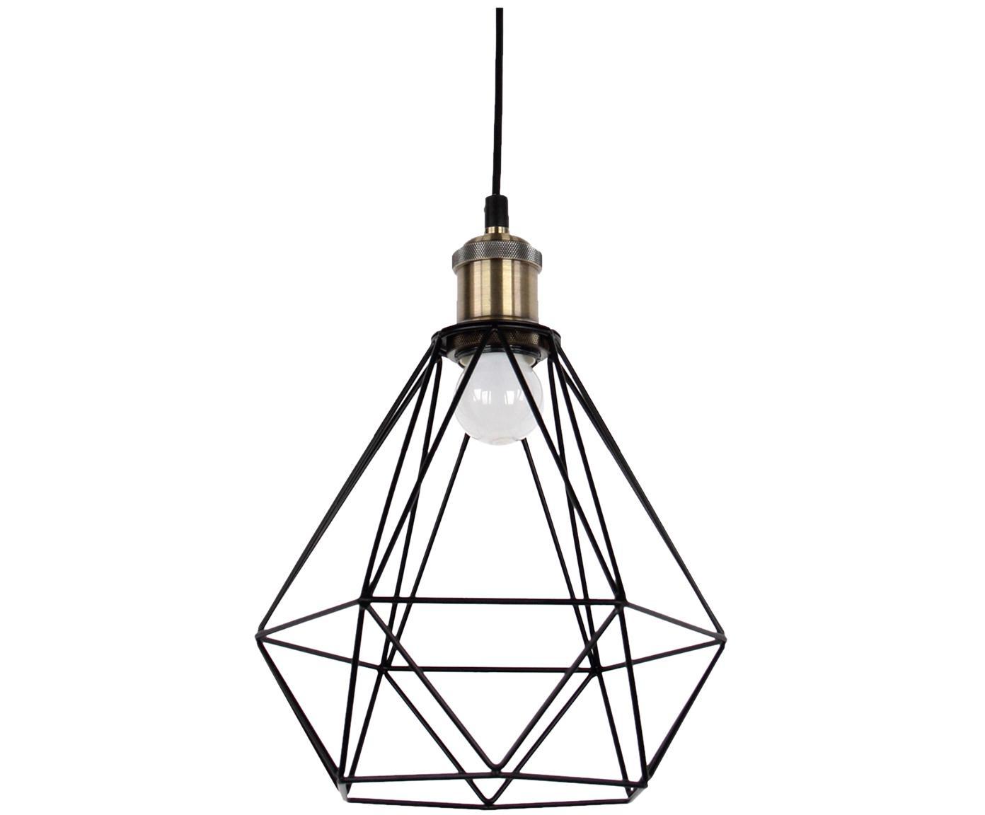 Kleine hanglamp Agnes in zwart, Baldakijn: metaal, Lampenkap: metaal, aluminium, Montuur: zwart, messingkleurig, Lampenkap: zwart, Ø 21 x H 22 cm