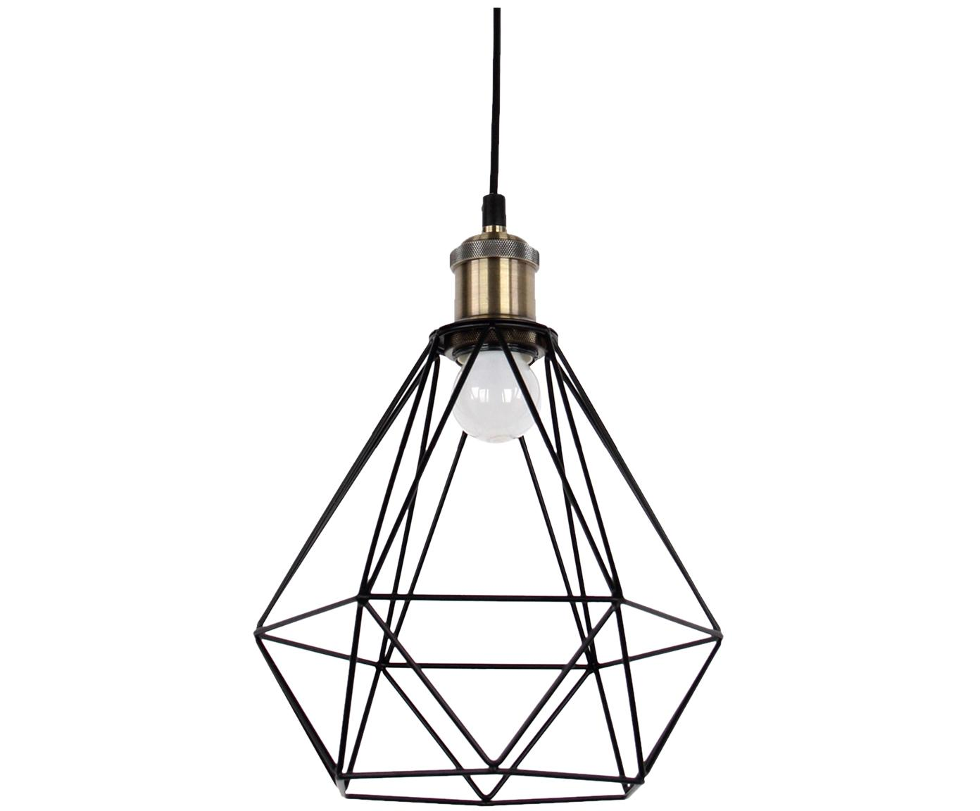 Lámpara de techo Agnes, Anclaje: metal, Pantalla: metal, aluminio, Negro, latón, Ø 21 x Al 22 cm