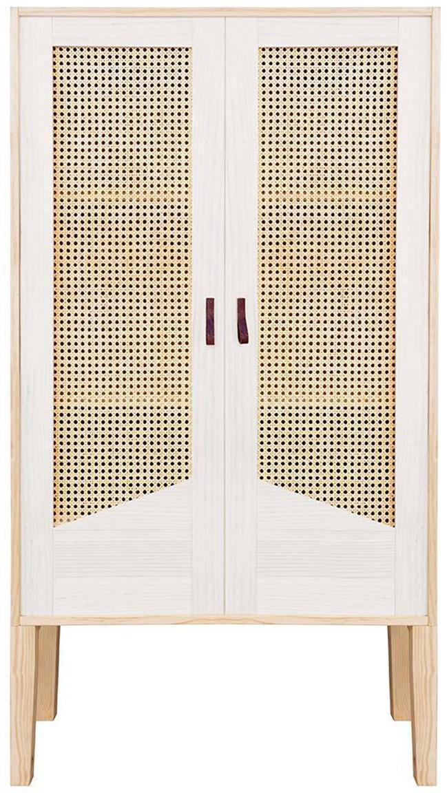 Armario de madera de pino Forest, Estructura: madera de pino, Beige, blanco, An 70 x Al 145 cm