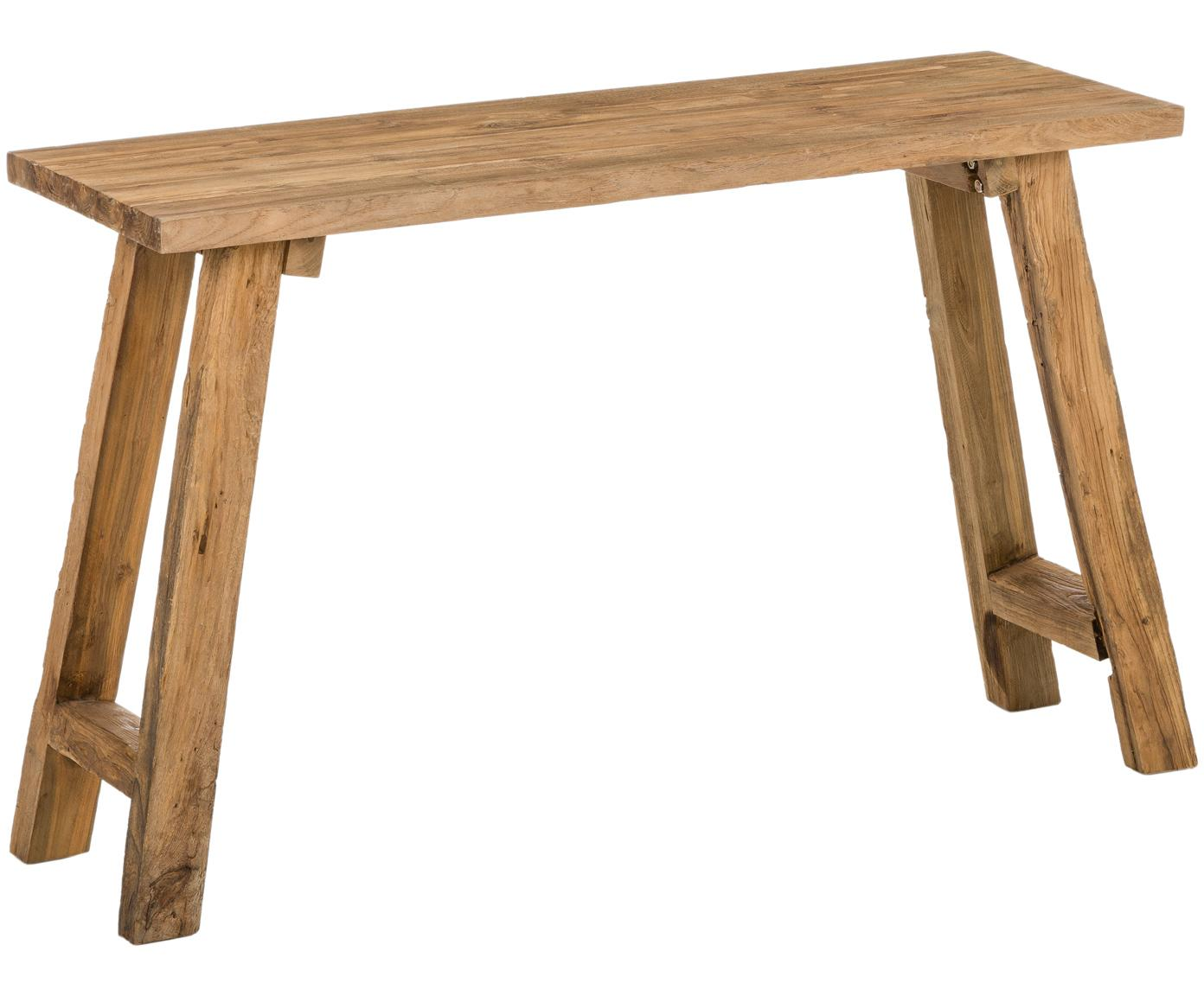 Konsola z drewna z recyklingu Lawas, Naturalne drewno tekowe, Drewno tekowe, S 120 x G 40 cm