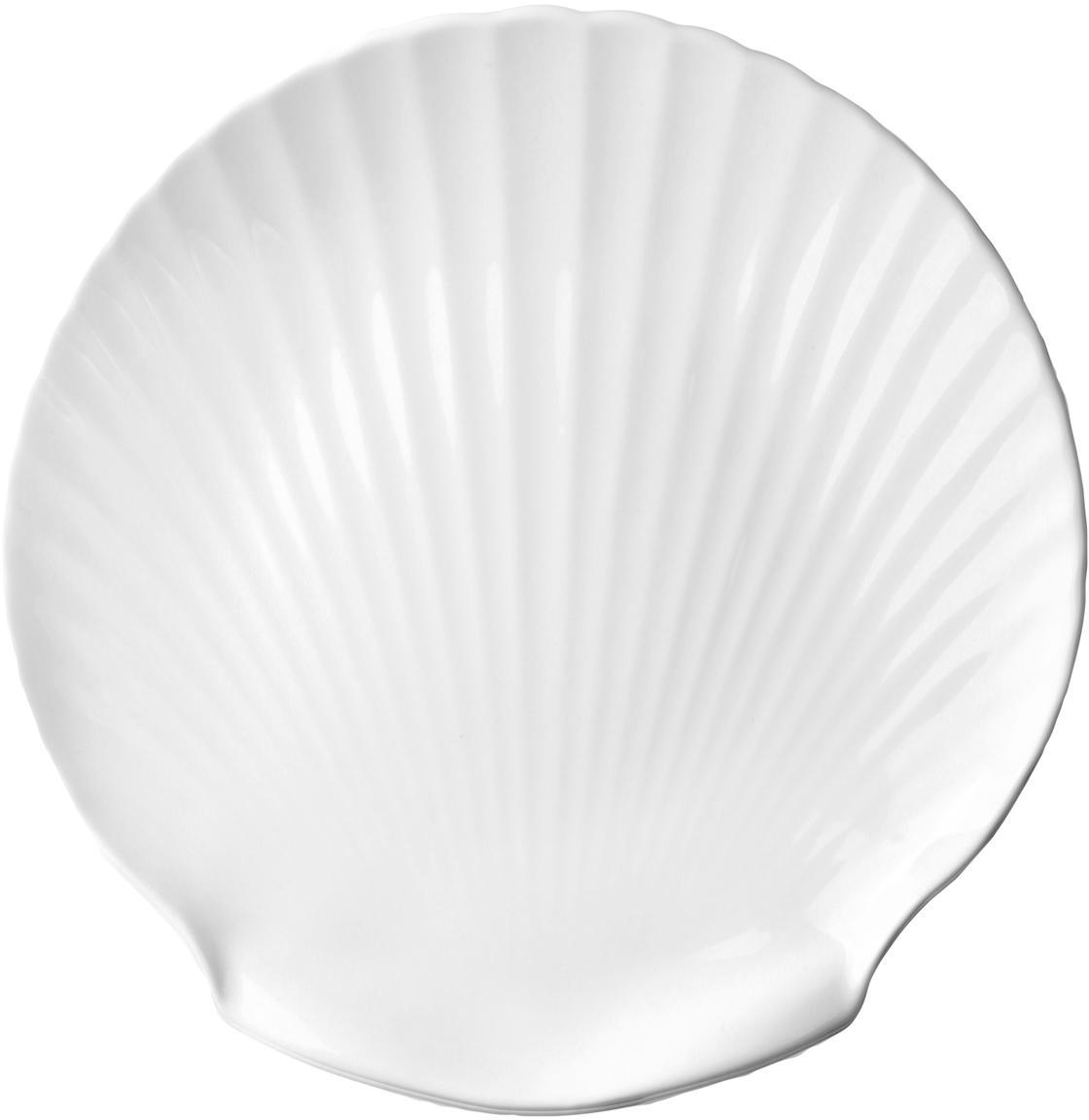 Fine Bone China serveerplateau Shell, Beenderporselein, Wit, Ø 27 cm