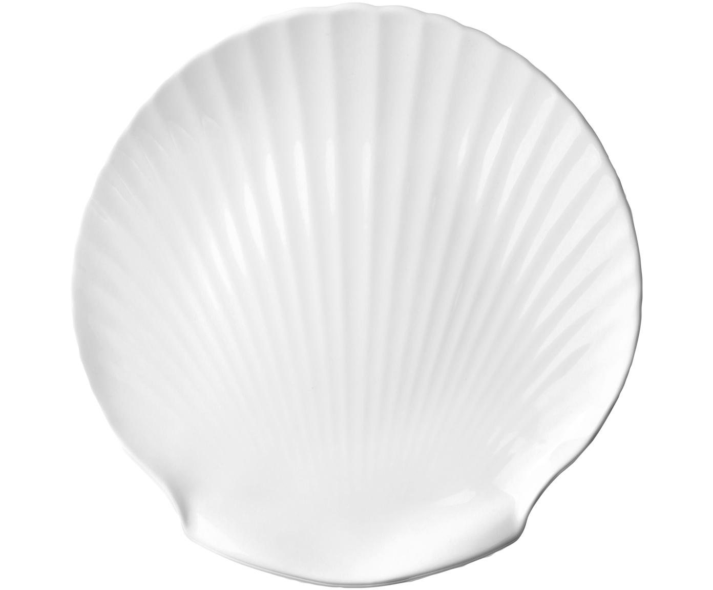 Fine Bone China Servierplatte Shell, Fine Bone China, Weiß, Ø 27 cm