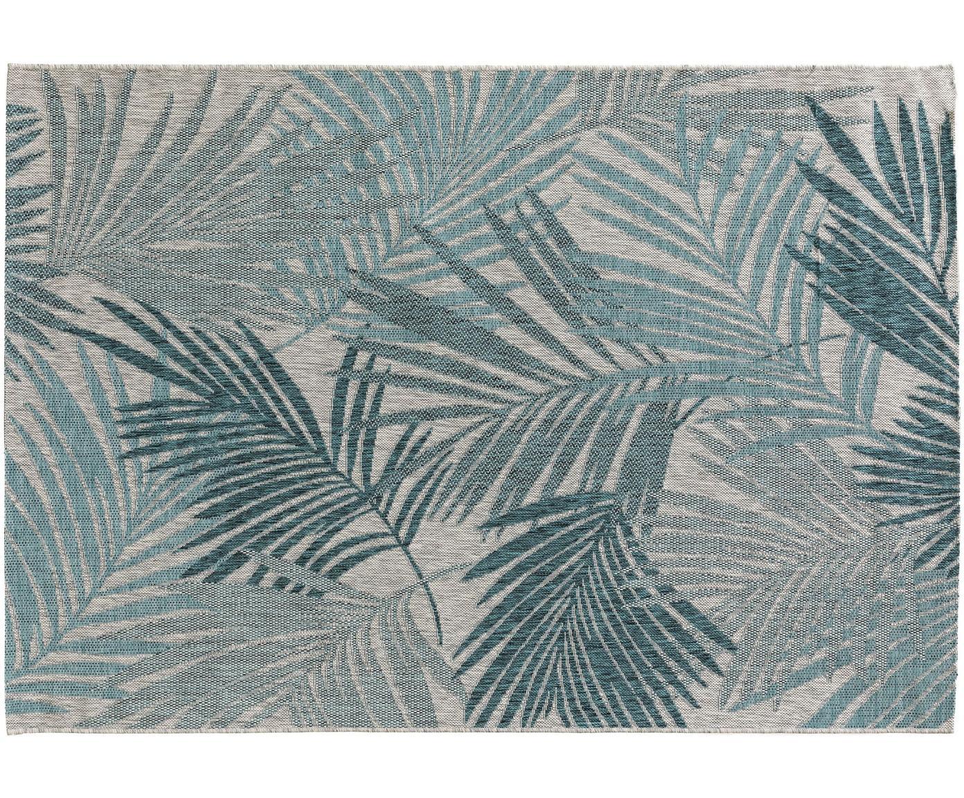 In- & outdoor vloerkleed Cleo met een elegant palmbladmotief, 90% polypropyleen, 10% polyester, Blauw, B 300 x L 400 cm (Maat XL)