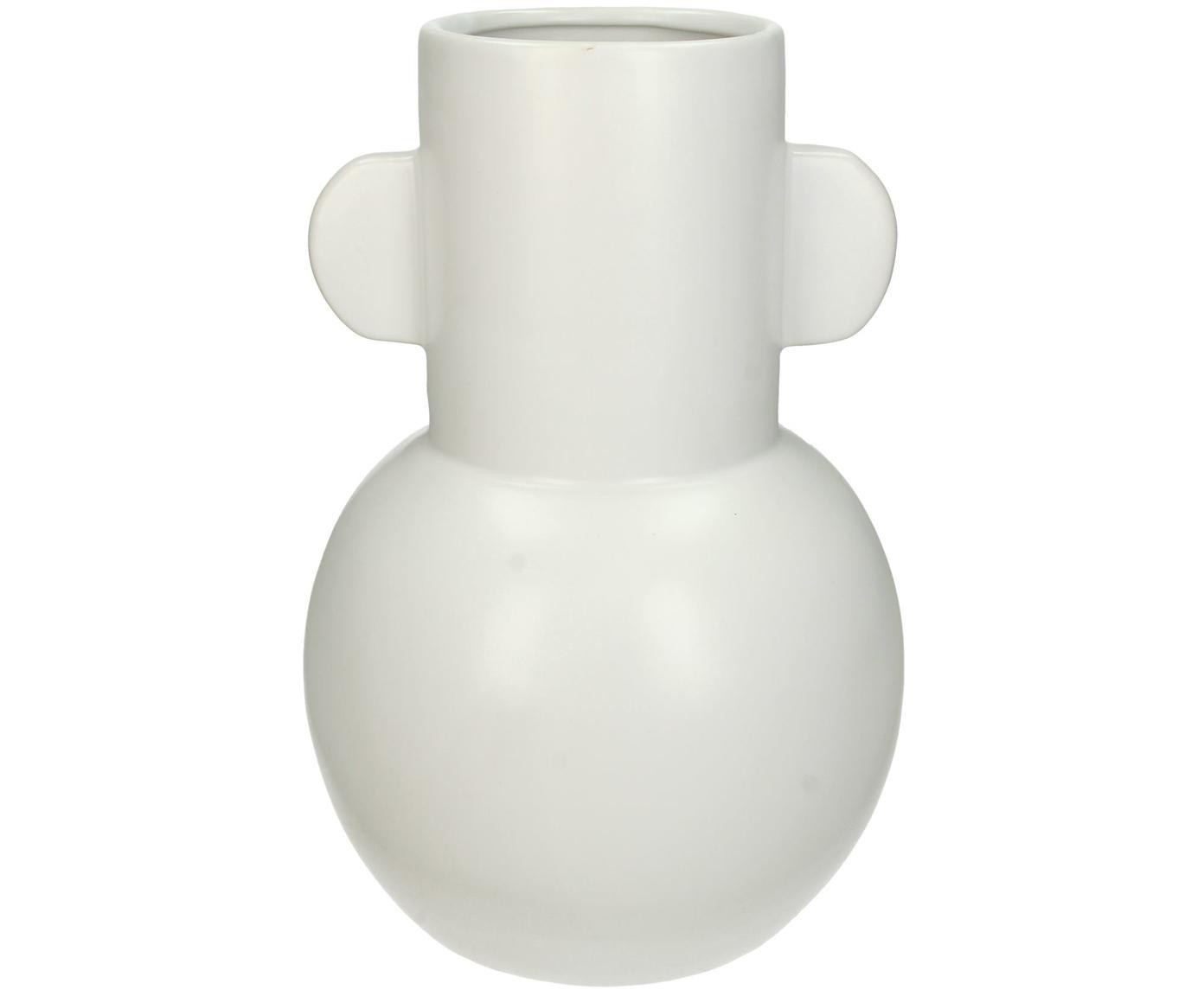 Moderne Vase Amola aus Steingut, Steingut, Weiß, Ø 17 x H 26 cm