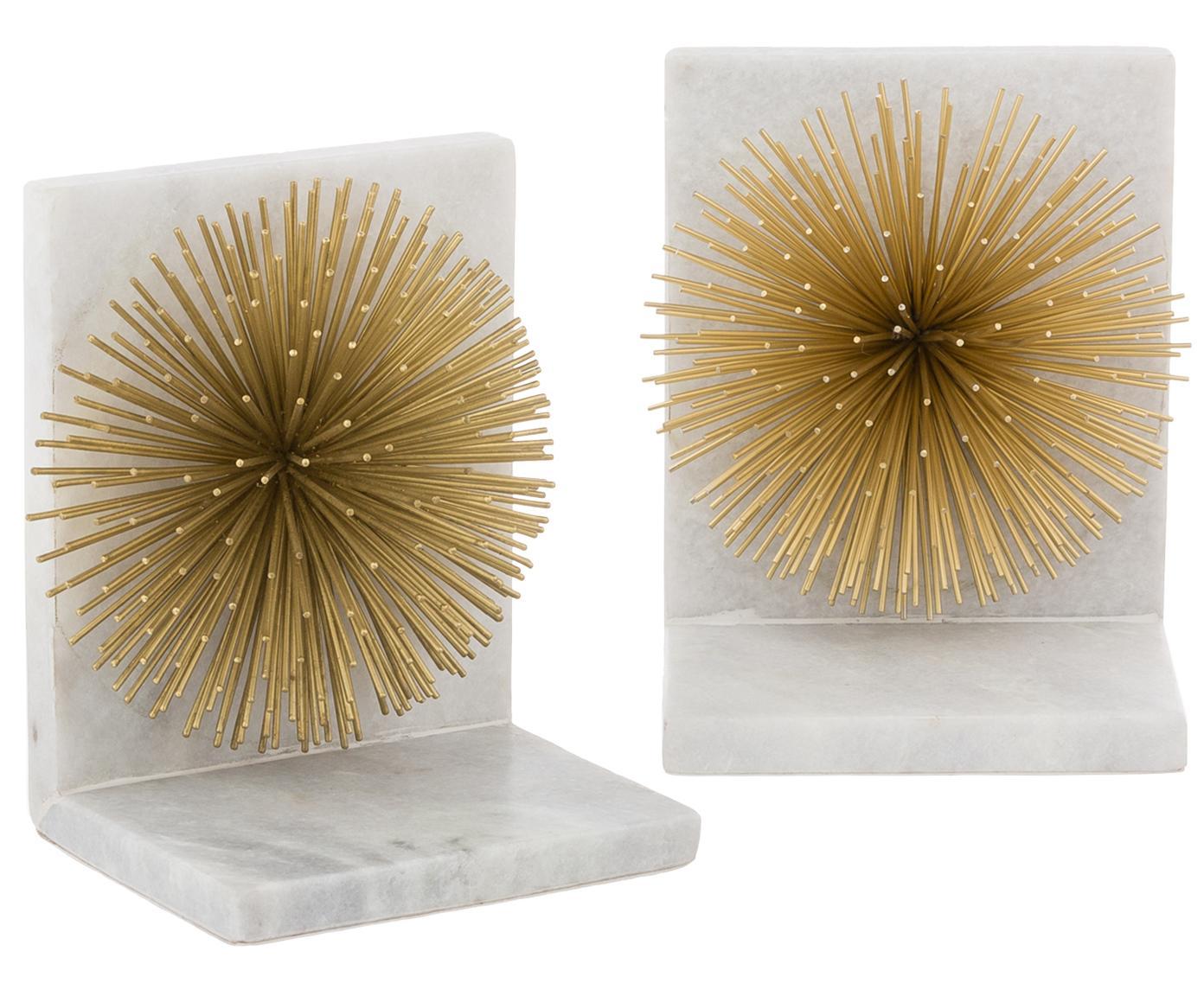 Boekensteunen Marburch, 2 stuks, Onderzijde: vilt, Boekensteun: wit marmer. Ornament: goudkleurig. Onderzijde: vilt, 14 x 17 cm