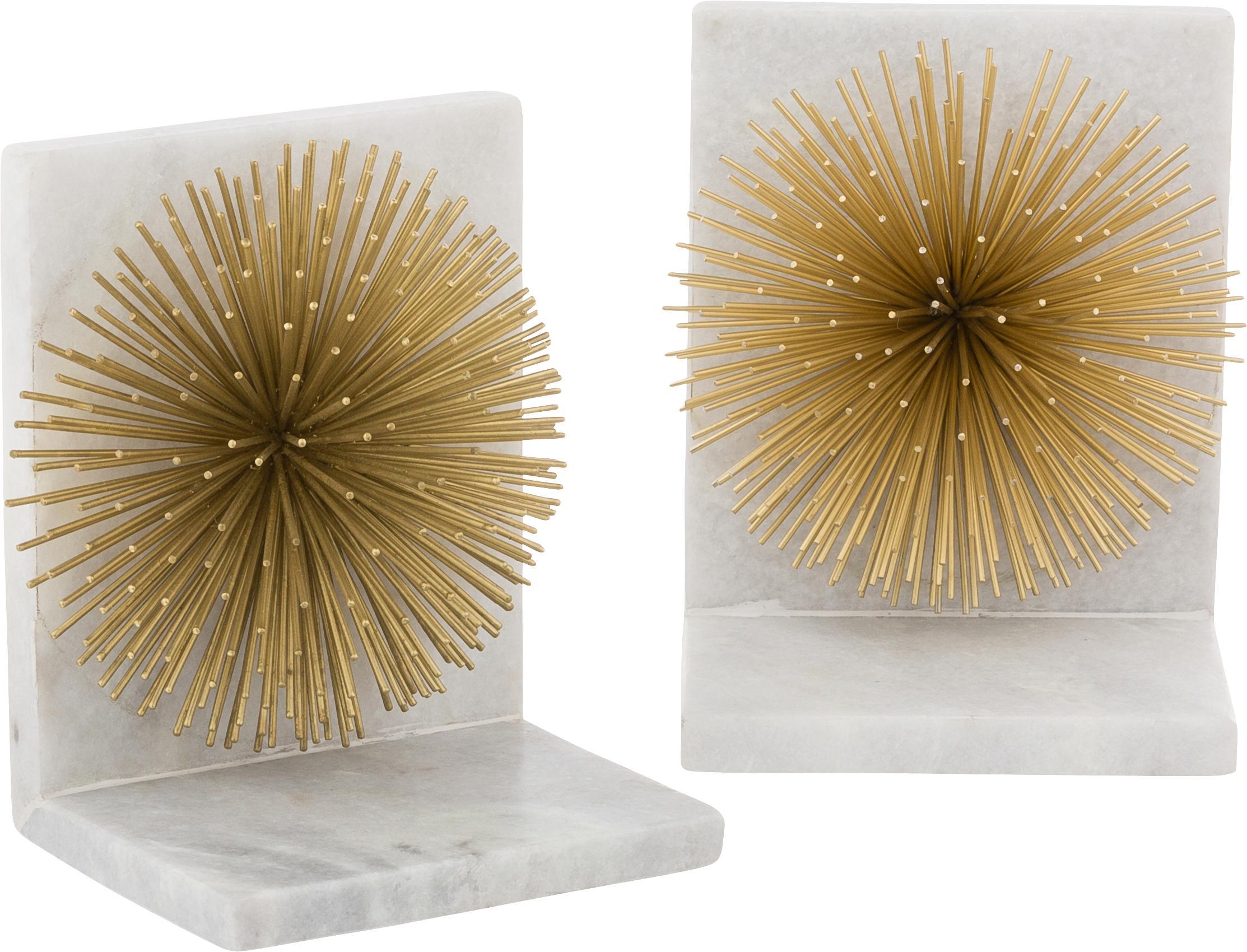 Reggilibri Marburch, 2 pz., Ornamento: metallo, Reggilibri: marmo chiaro, dettaglio: dorato, fondo: feltro, L 14 x A 17 cm