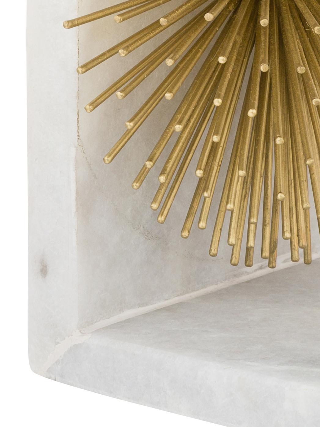 Podpórka do książek Marburch, 2 szt., Podpórka do książek: biały marmur<br>Ornament: odcienie złotego<br>Podkładka: fi, S 14 x W 17 cm