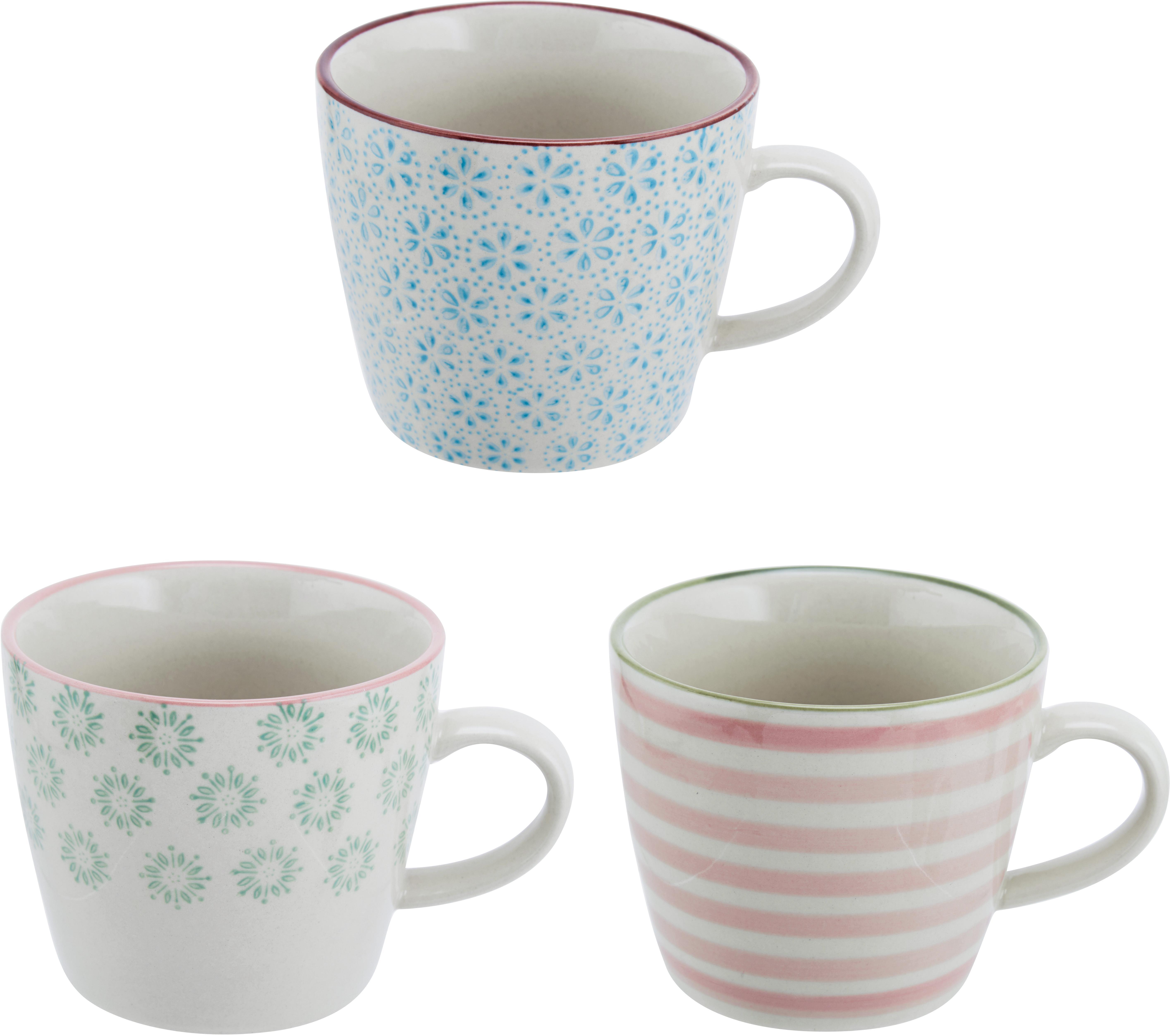 Set 3 tazze dipinte a mano Patrizia, Terracotta, Bianco, verde, blu, rosso, Ø 10 x Alt. 8 cm