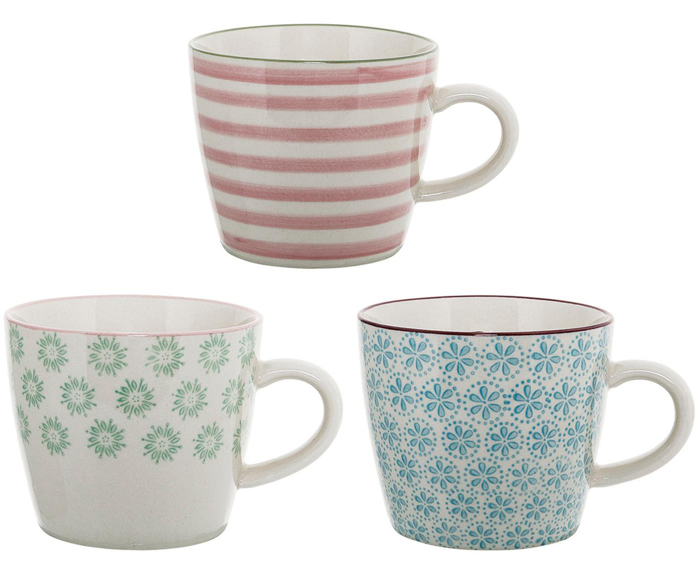 Handbemalte Tassen Patrizia mit kleinem Muster, 3er-Set, Steingut, Weiß, Grün, Blau, Rot, Ø 10 x H 8 cm