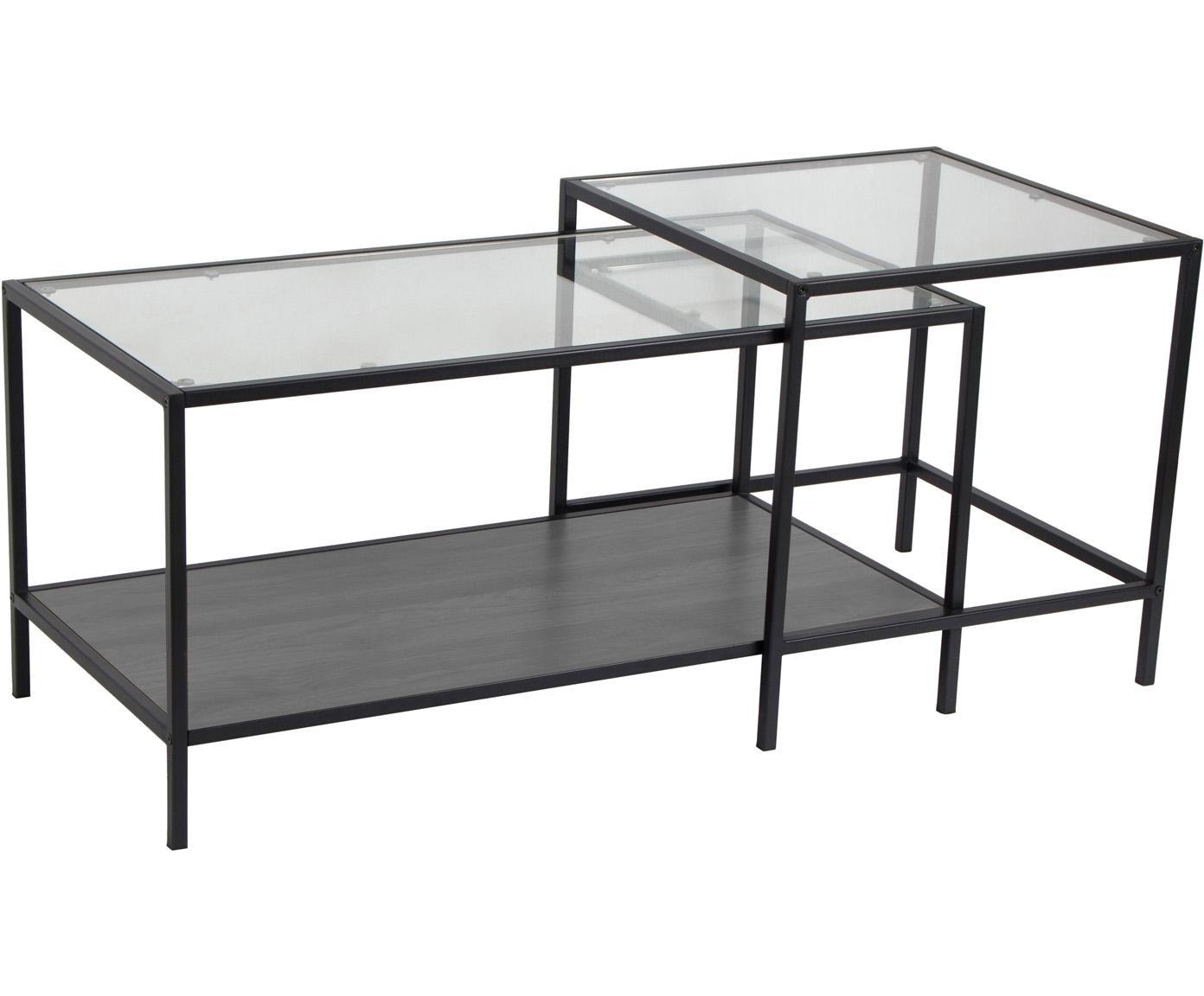 Bijzettafelset Seaford van hout en metaal, Frame: metaal, Zwart, transparant, B 90 x D 55 cm
