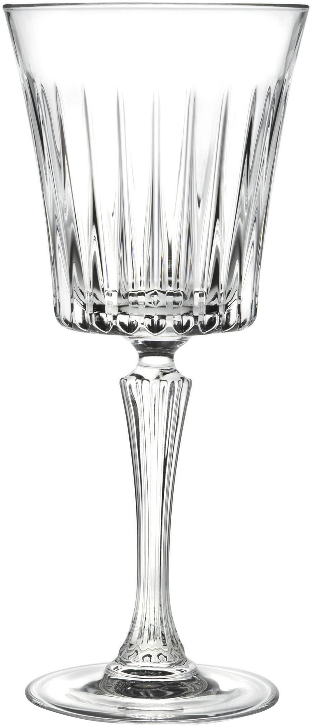 Kristall-Rotweingläser Timeless mit Rillenstruktur, 6er-Set, Kristallglas, Transparent, Ø 9 x H 21 cm