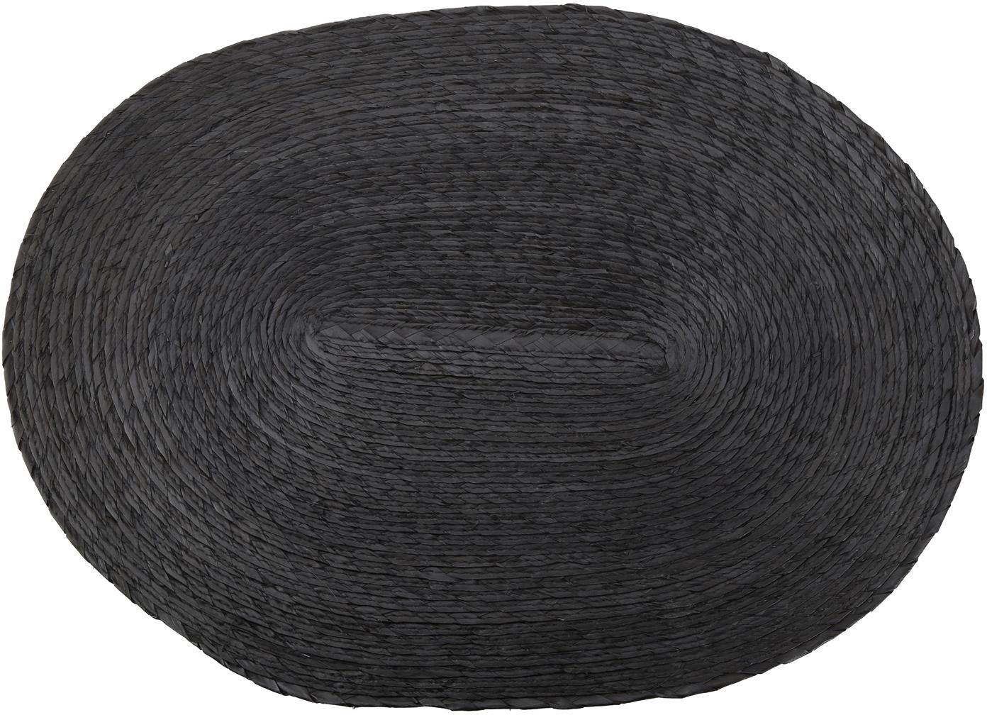 Ovale Tischsets Mineola aus Palmblättern, 2 Stück, Palmblätter, Schwarz, 33 x 46 cm