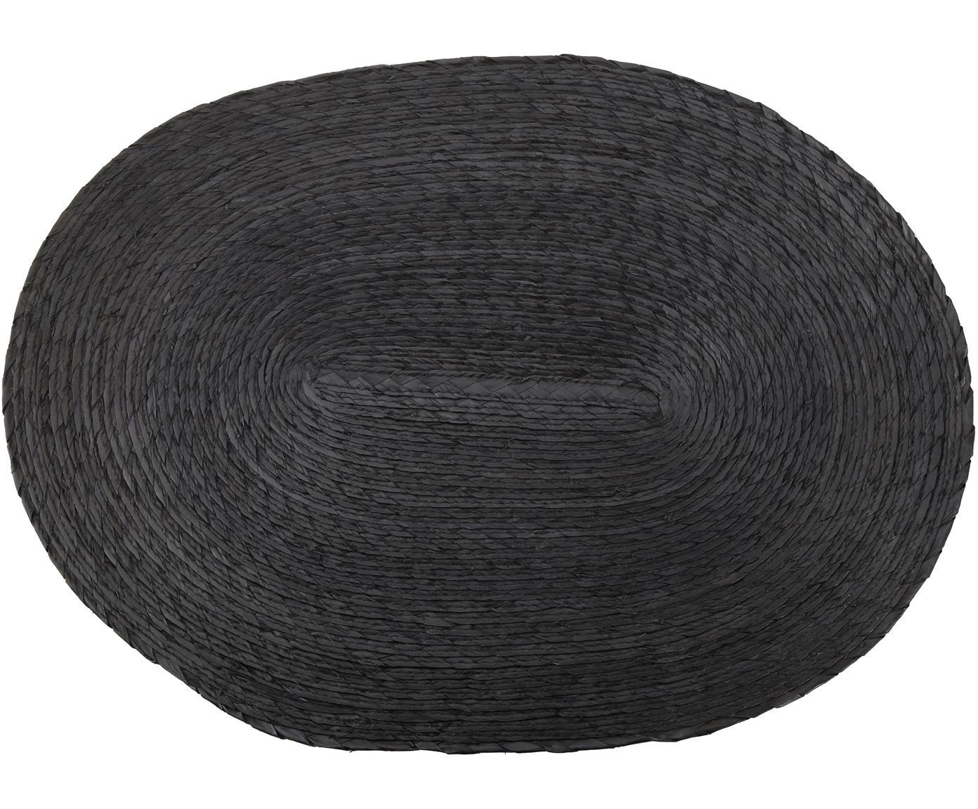 Owalna podkładka Mineola, 2 szt., Liście palmowe, Czarny, S 33 x D 46 cm