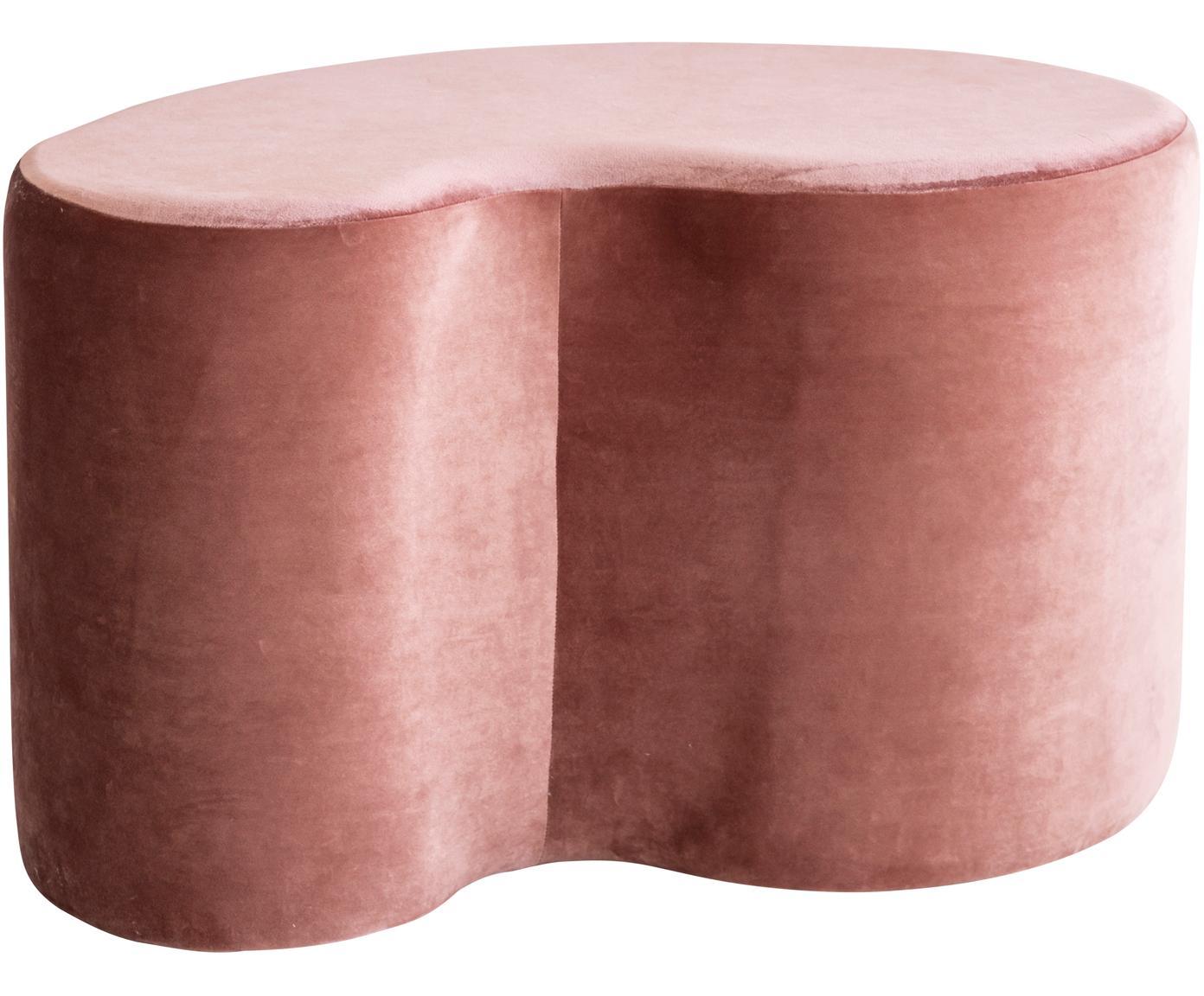 Pouf in velluto rosa Cloe, Rivestimento: poliestere (velluto), Struttura: legno di pino, pannelli d, Rosa, Larg. 80 x Prof. 50 cm
