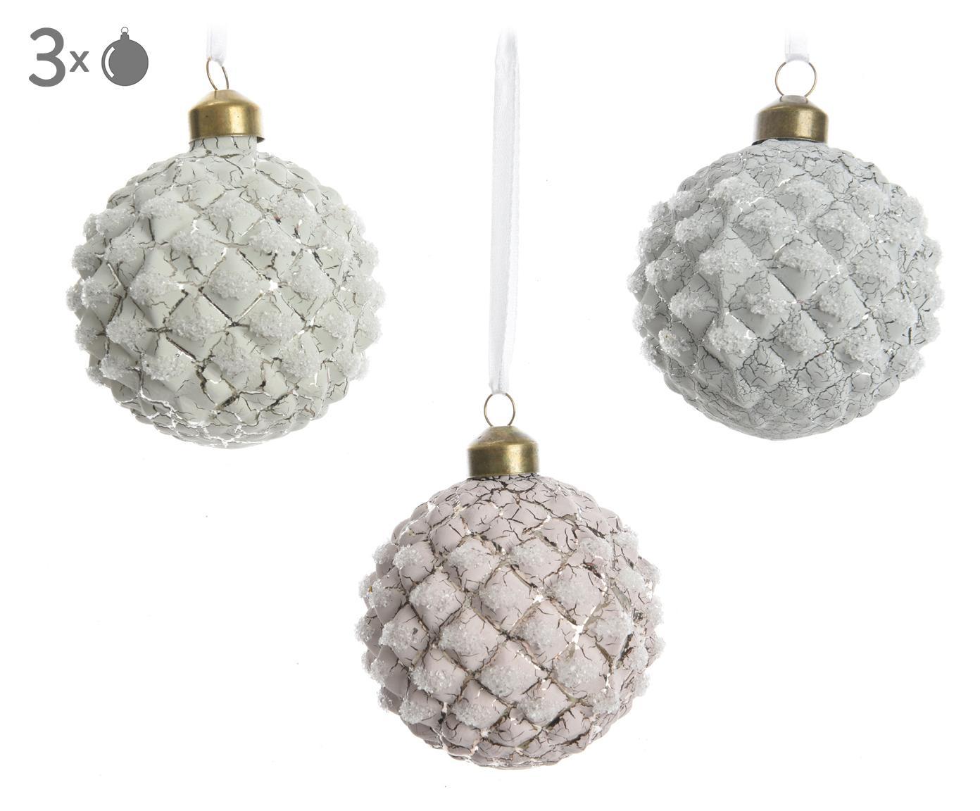 Kerstballenset Crackle, 3-delig, Ophanglus: kunststof, Wit, zilverkleurig, Ø 8 cm