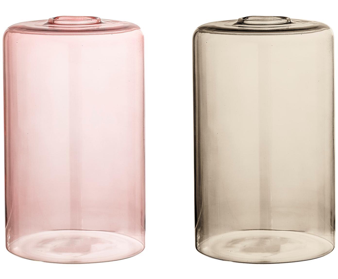 Vazenset Uwe, 2-delig, Glas, Roze, lichtbruin, Ø 10 x H 16 cm