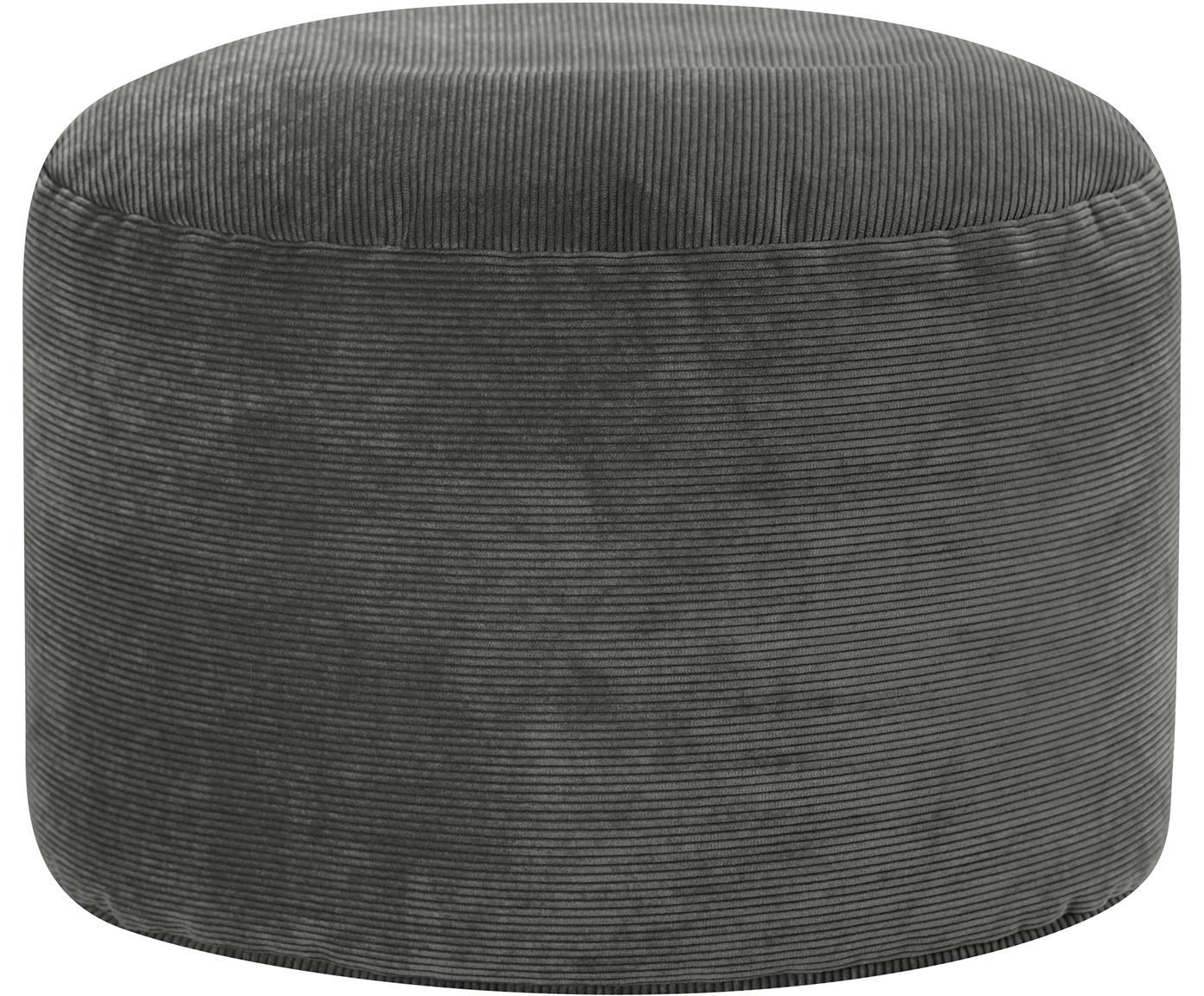 Cord-Pouf Cordone, Bezug: Cord (96% Polyester, 4% P, Anthrazit, Ø 50 x H 30 cm