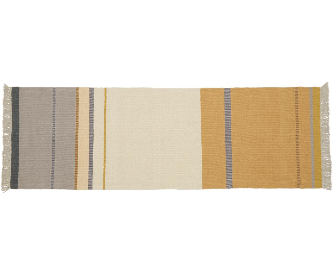 Alfombra artesanal de lana con flecos Metallum, Multicolor, An 80 x L 250 cm