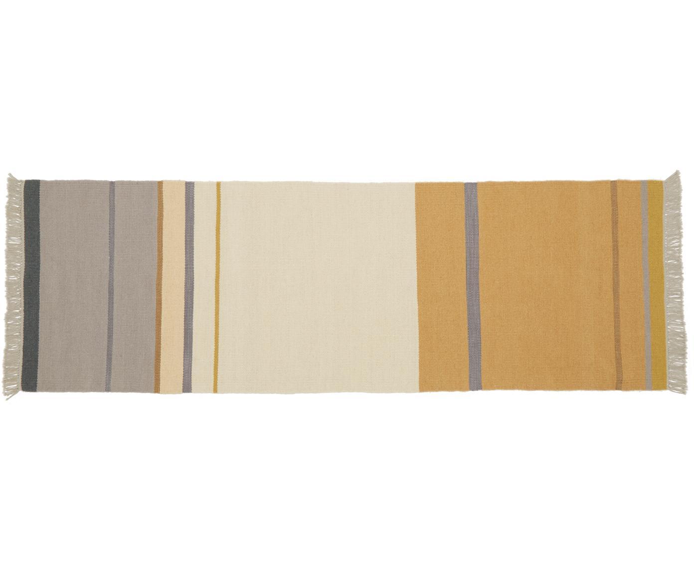 Wollen loper Metallum in beige/geel met franjes, handgeweven, Multicolour, 80 x 250 cm