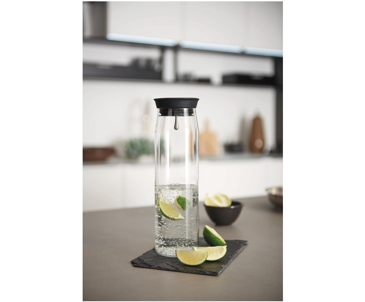 Grosse Karaffe Brioso, Glas, Silikon, Transparent, 1.1 L