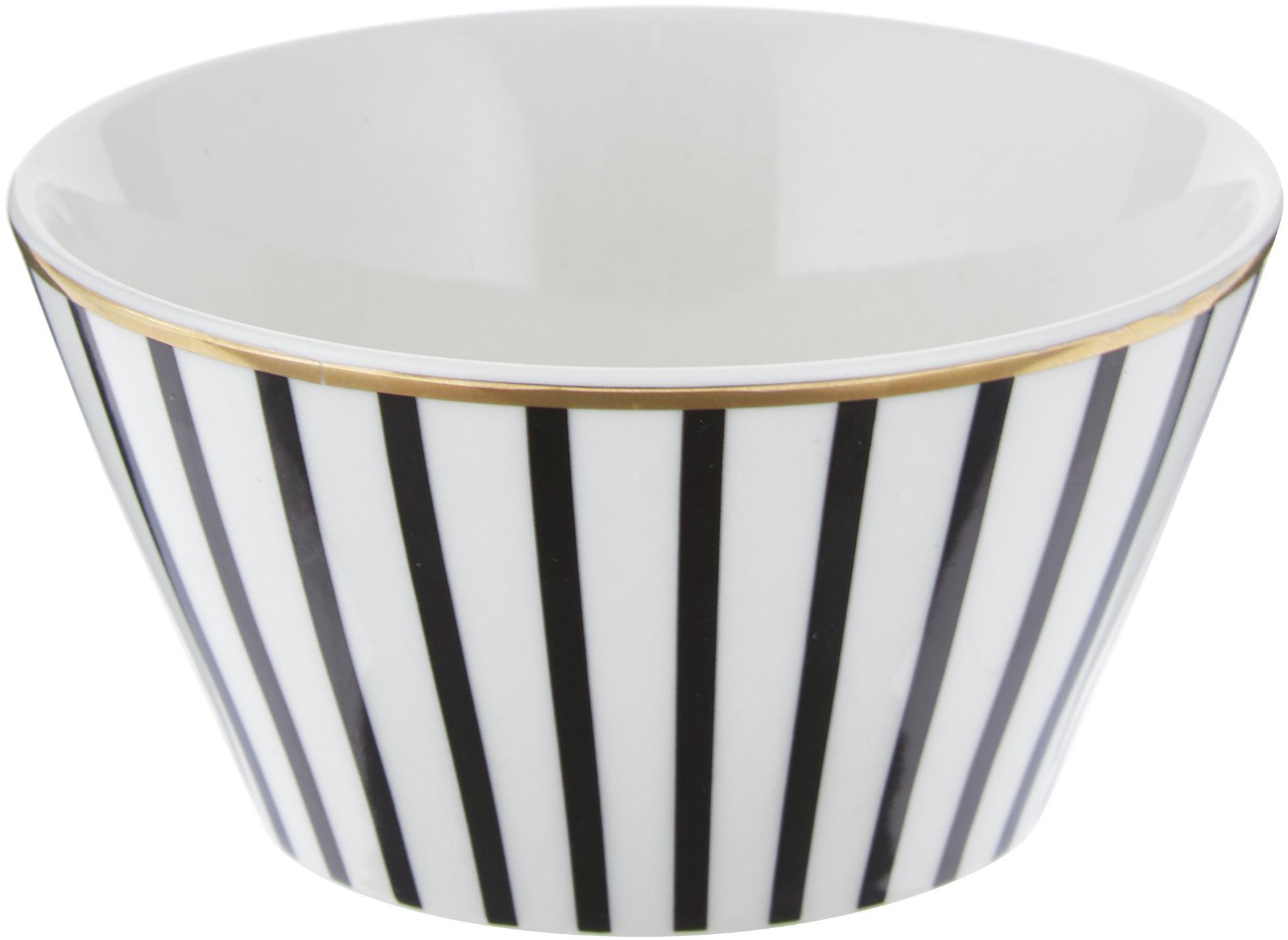 Cuencos Pluto Loft, 4uds., Porcelana, Negro, blanco, Ø 10 x Al 6 cm