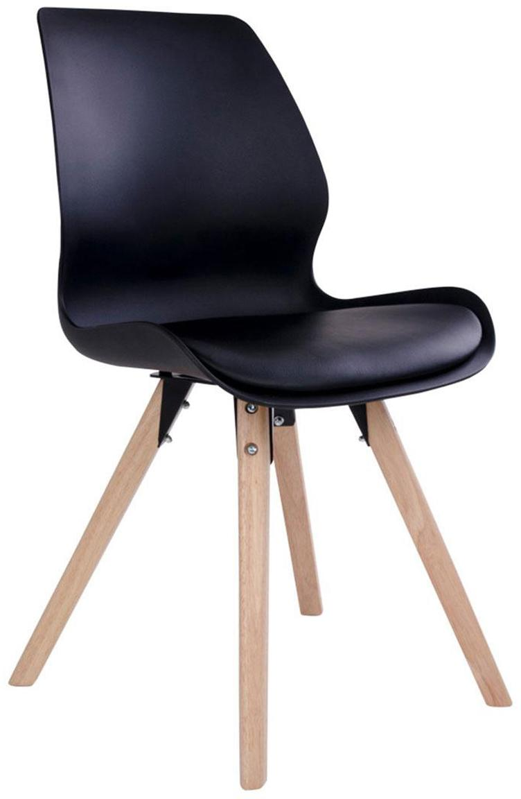 Silla tapizada Rana, Tapizado: piel sintética, Patas: madera de caucho, Negro, An 52 x F 48 cm
