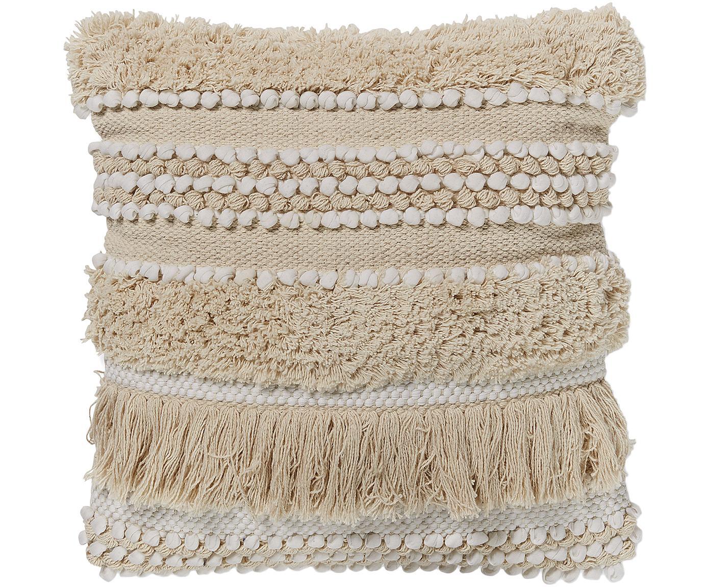 Boho Kissenhülle Frinny mit Fransen und Verzierungen, 100% Baumwolle, Weiß, Ecru, 45 x 45 cm