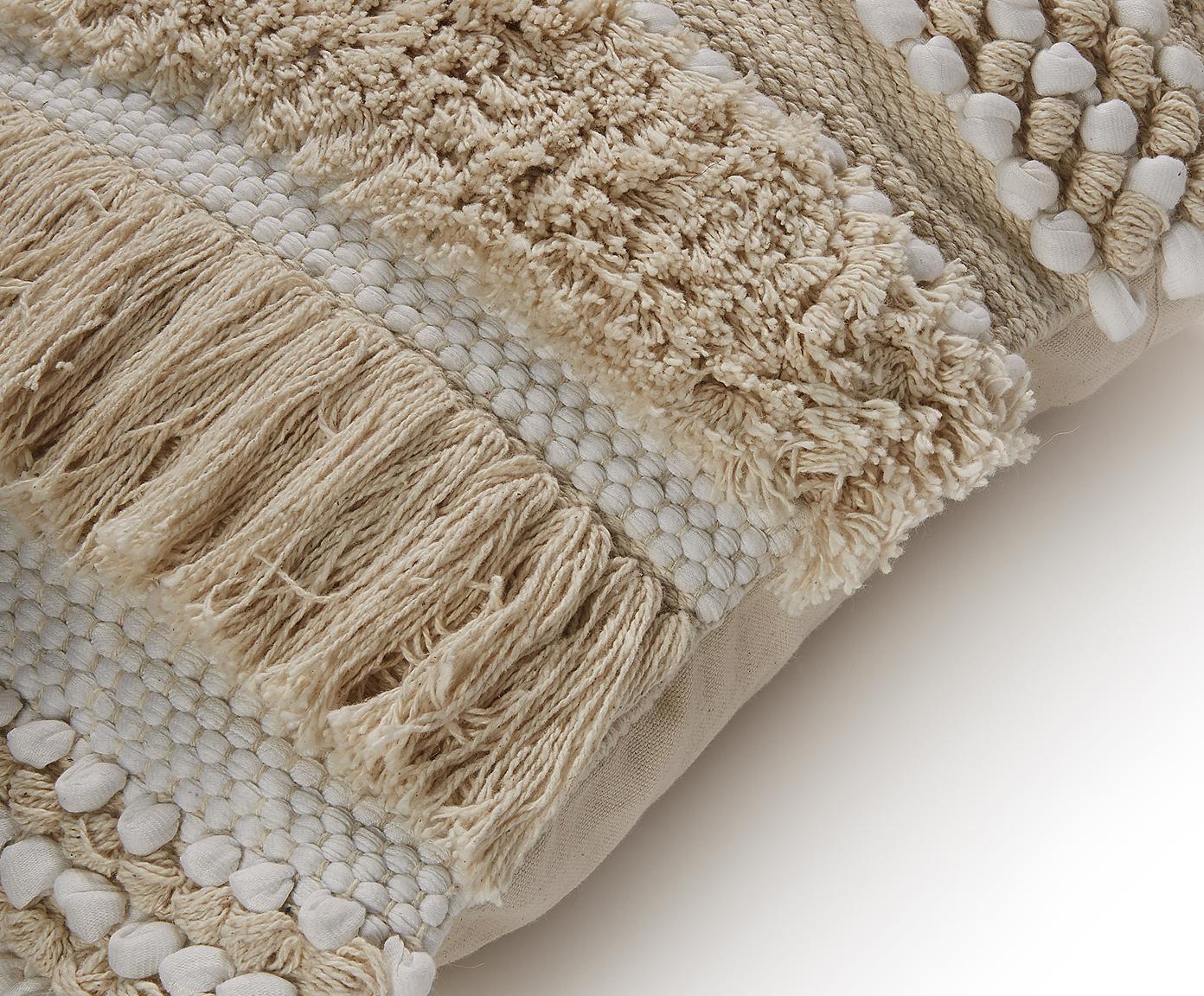Poszewka na poduszkę boho Frinny, 100% bawełna, Biały, ecru, S 45 x D 45 cm