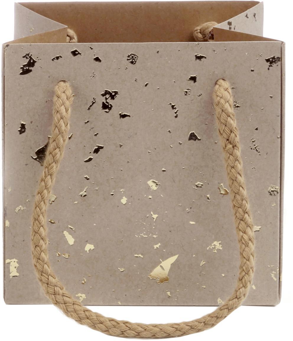 Bolsas para regalo Carat, 3uds., Asas: algodón, Bolsa: papel de estraza, Marrón, dorado, An 13 x Al 13 cm