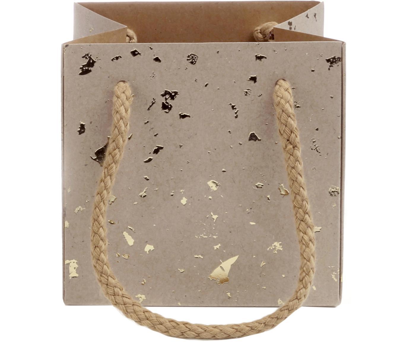 Geschenktaschen Carat, 3 Stück, Griffe: Baumwolle, Tasche: Kraftpapier, Braun, Goldfarben, 13 x 13 cm
