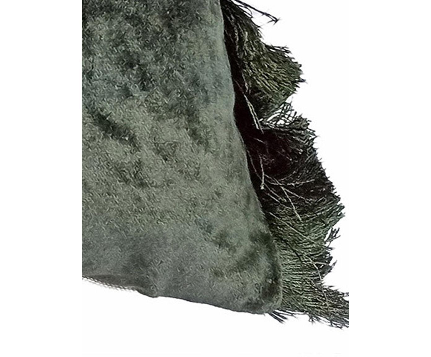 Samt-Kissen Crushed, mit Inlett, Bezug: 55% Rayon, 45% Baumwolle, Webart: Samt, Grün, 30 x 50 cm
